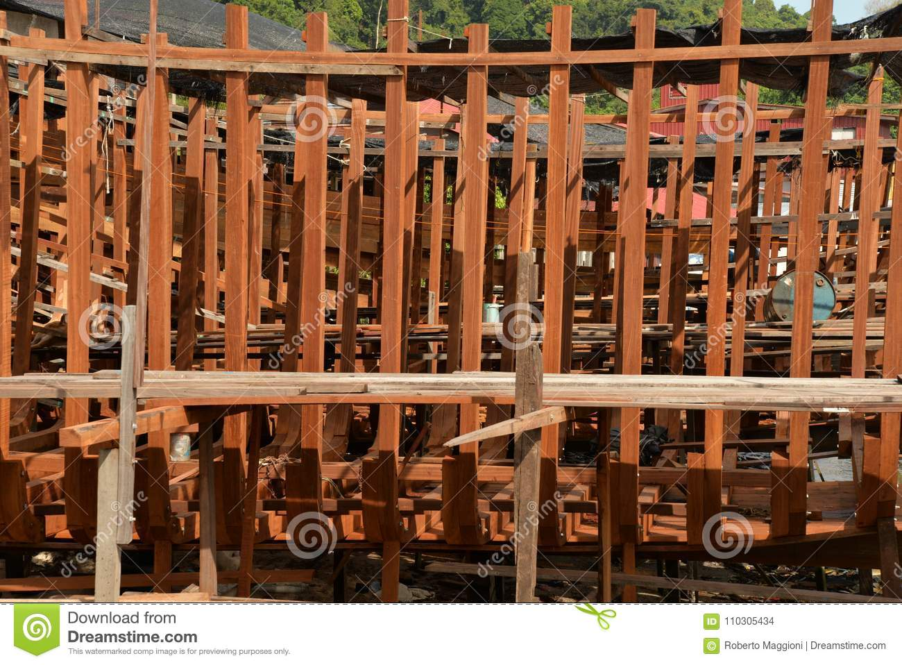 Traditional Wooden Ship Building Dock Stock Photo - Image ...