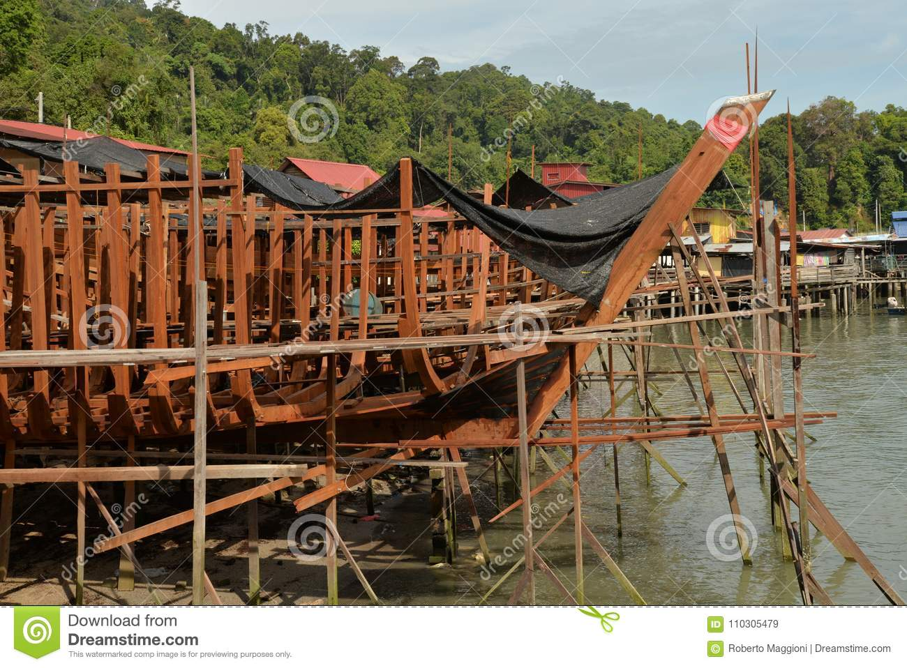 Traditional Wooden Ship Building Dock Stock Image - Image ...