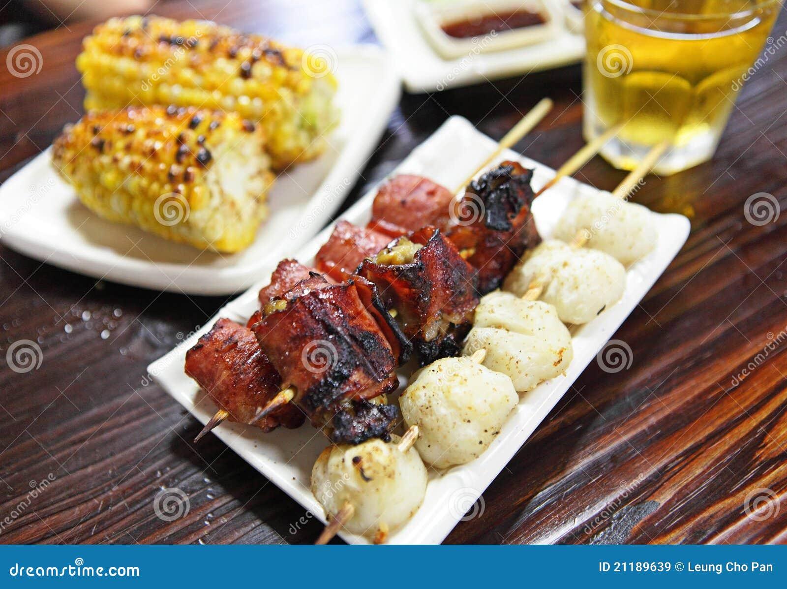 Traditional yakitori chicken