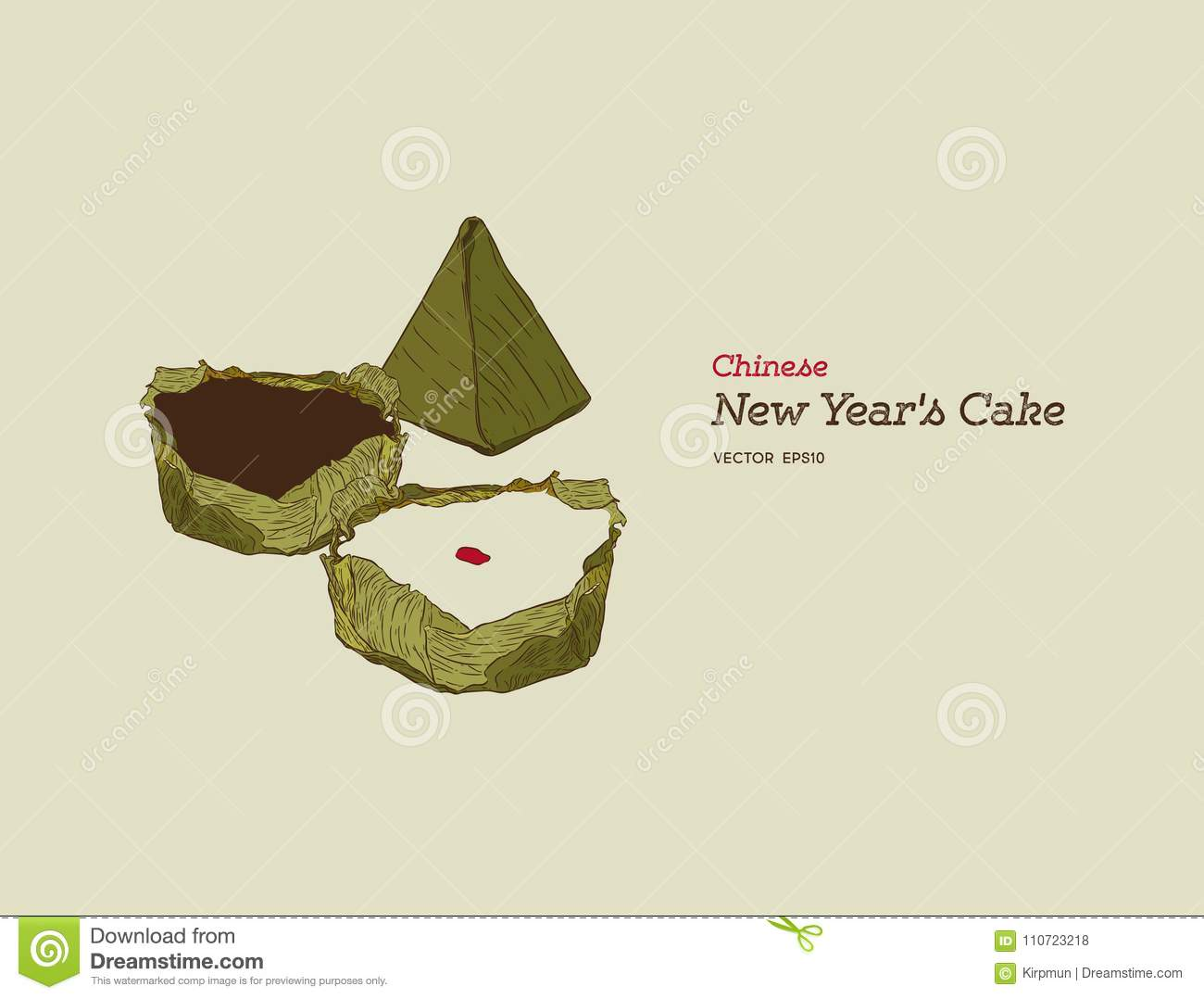 Traditional Year Cake Or Chinese New Years Is A Food Prepared From Glutinous Rice And Consumed In Cuisine Hand Draw Sketch Vector
