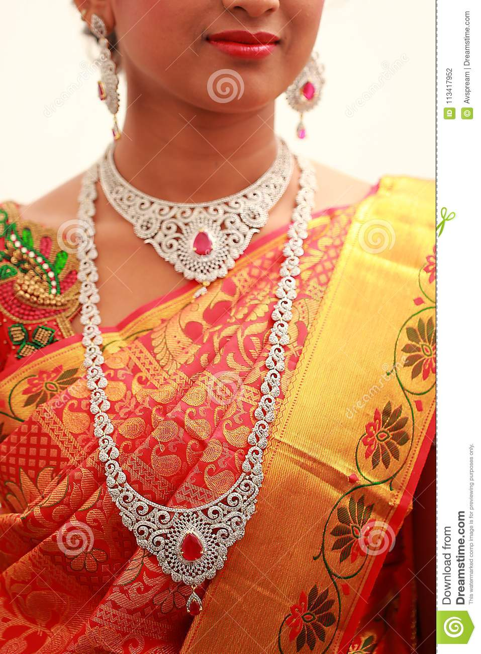 Traditional Young Bride In Wedding Dress South Indian Wedding