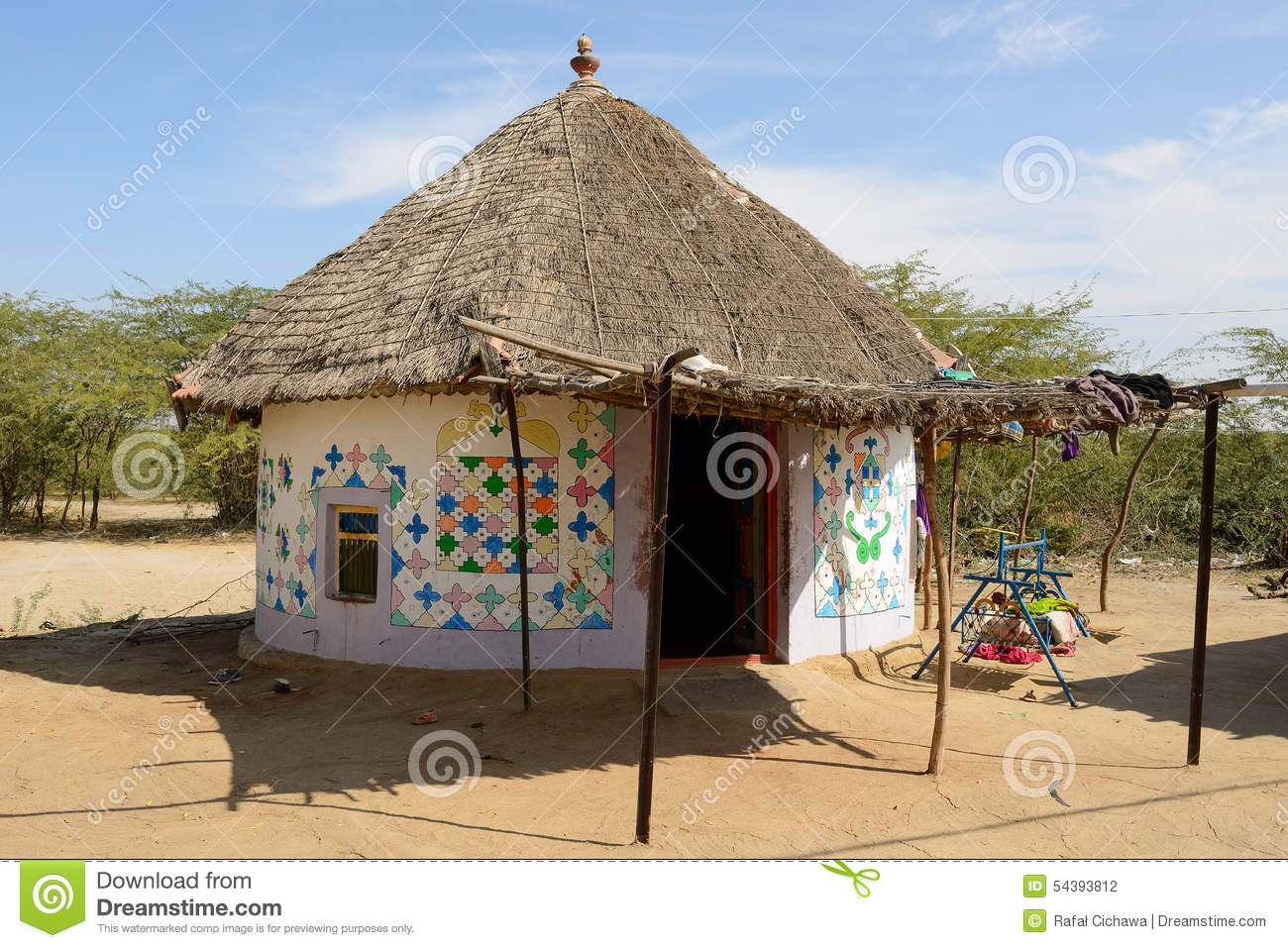 Traditionally Decorated Hut In India Stock Photo Image