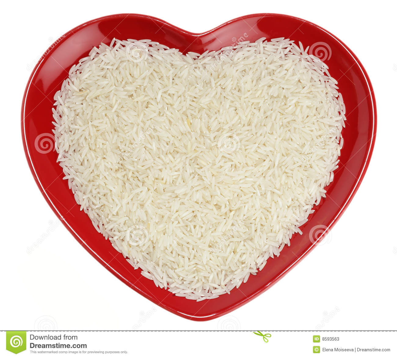 Traditionally Indian basmati Rice in red heart