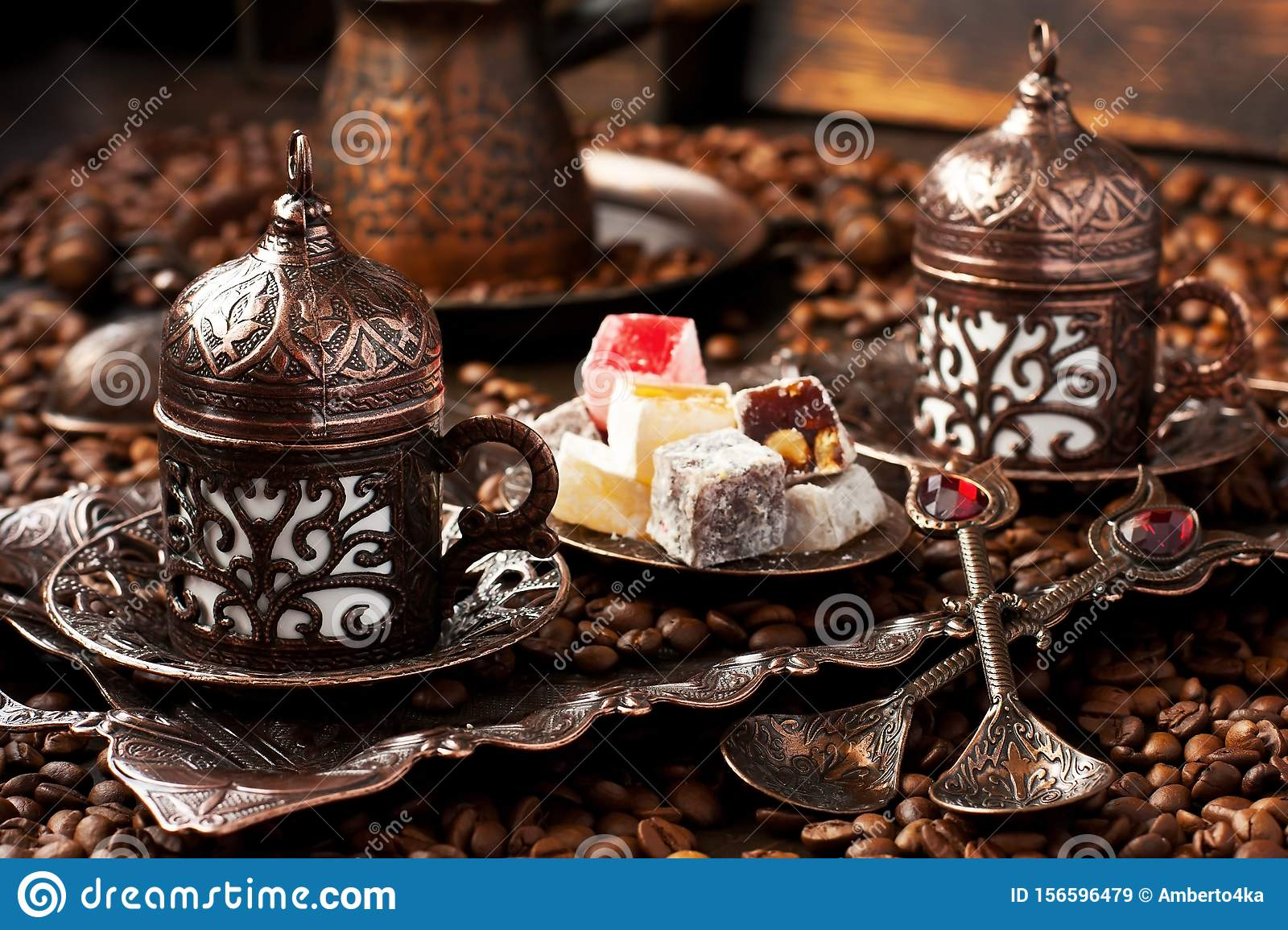 Traditionally served Turkish coffee with eastern sweets