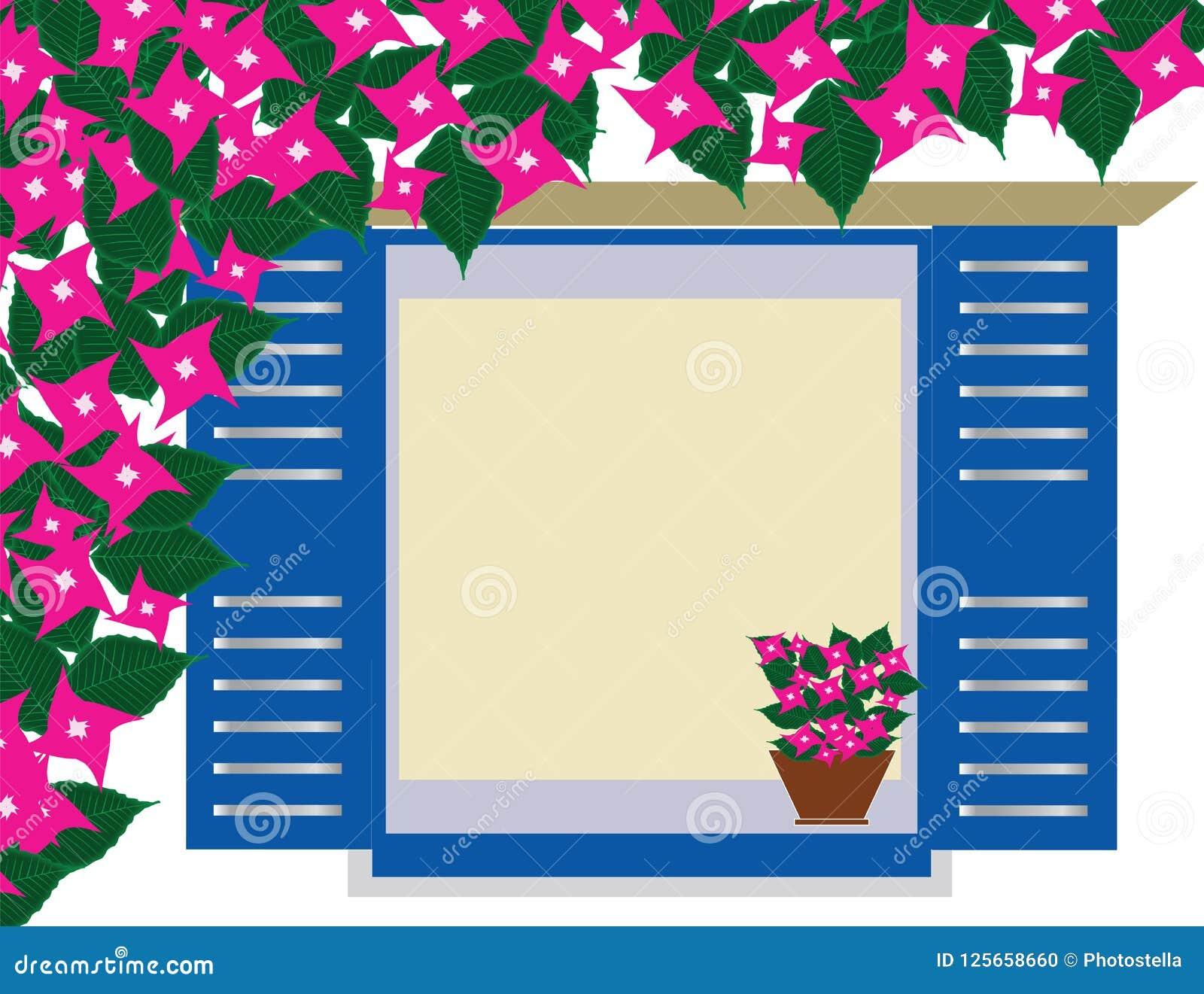 Traditioneel Grieks blauw venster met bougainvilleabloemen - Cycladen Griekenland