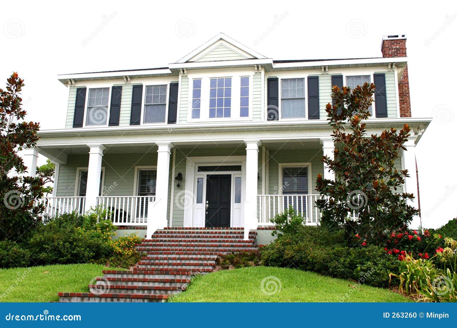 Verbazingwekkend Traditioneel Huis, Amerikaanse Stijl Stock Foto - Afbeelding WV-09