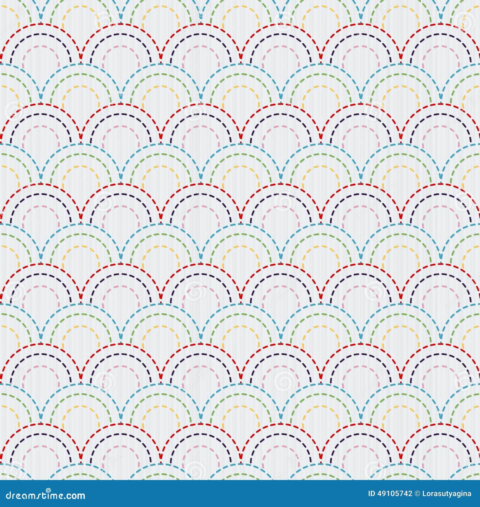 Traditioneel Japans Borduurwerkornament met kleurrijke vissenschalen Vector naadloos patroon