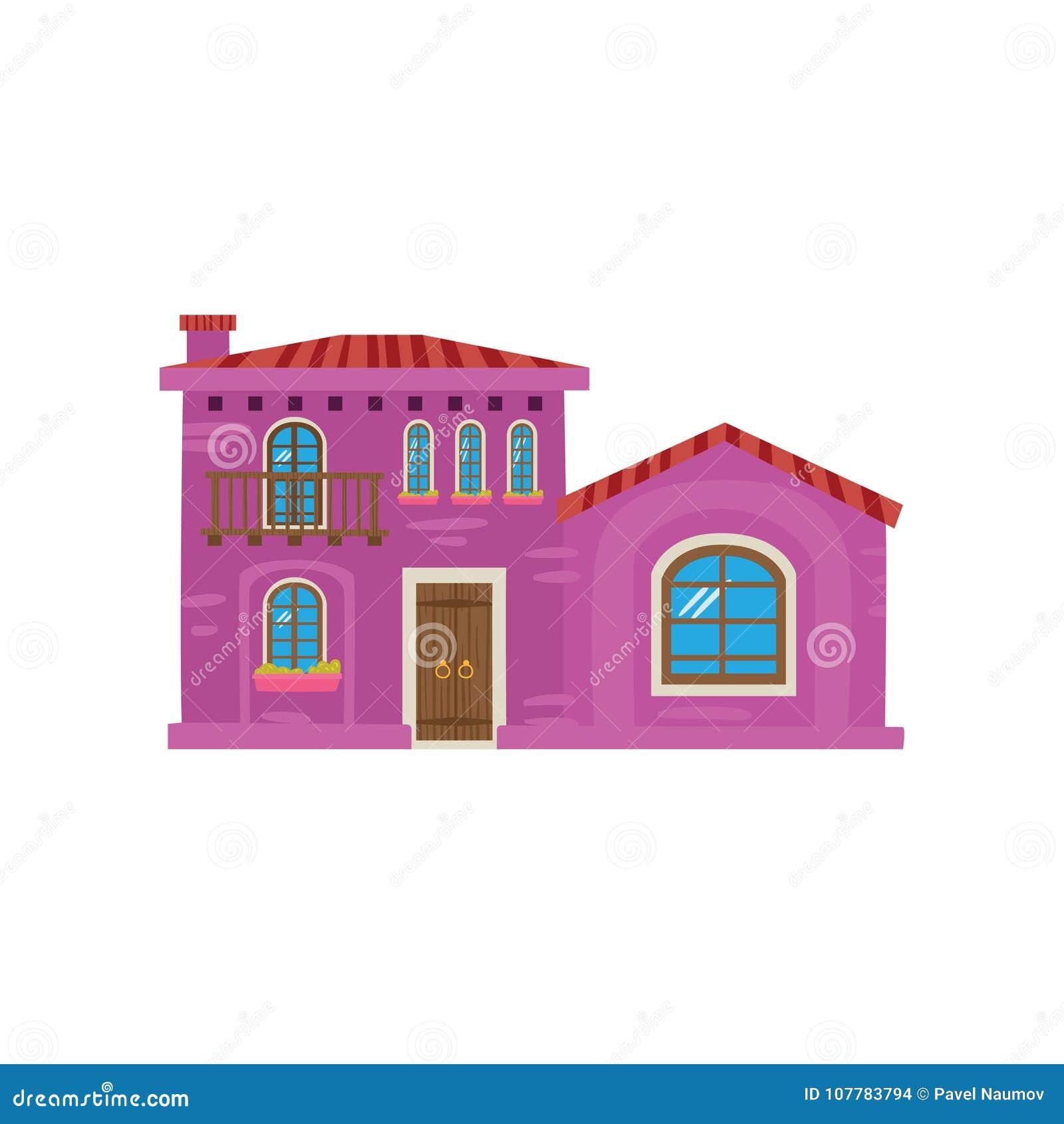 Traditioneel Mexicaans huis, van het de voorgevelbeeldverhaal van Mexico-City de vectorillustratie