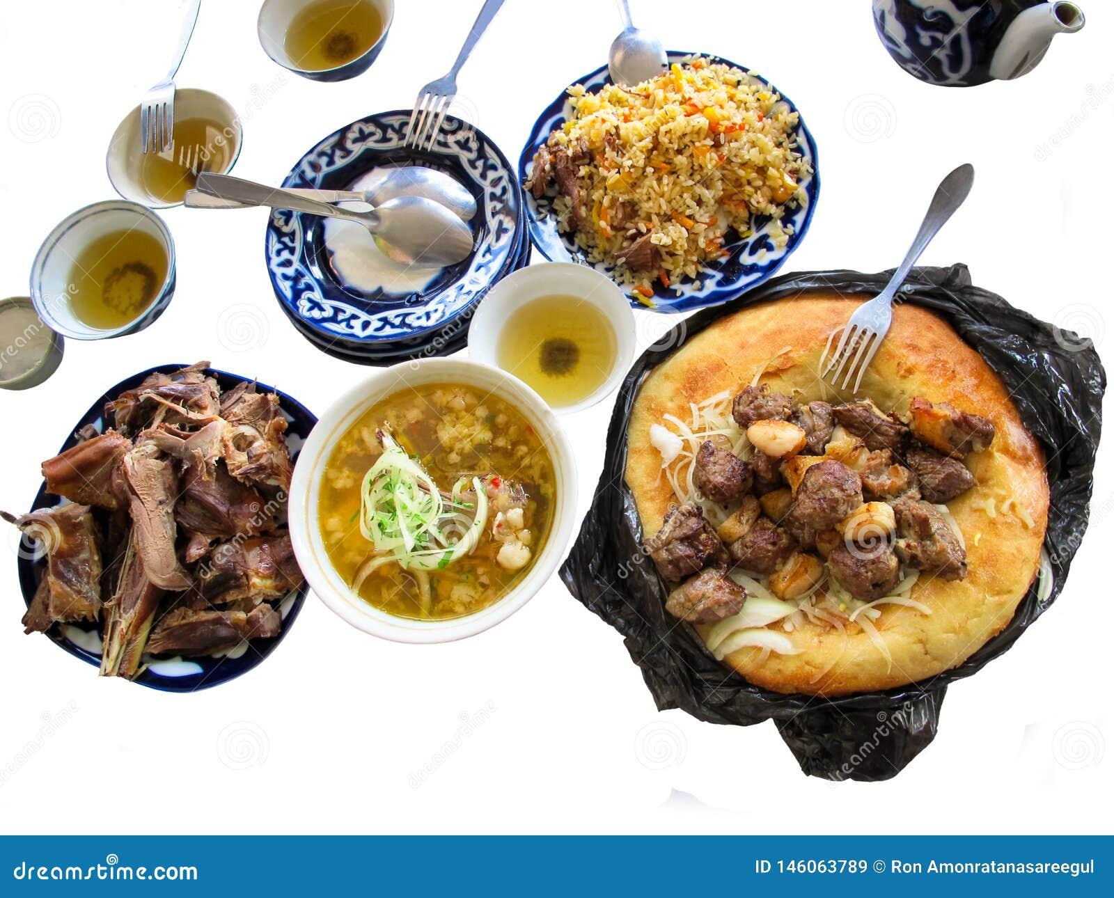 Traditioneel opmerkelijk schotels en voedsel van Centraal-Azië,