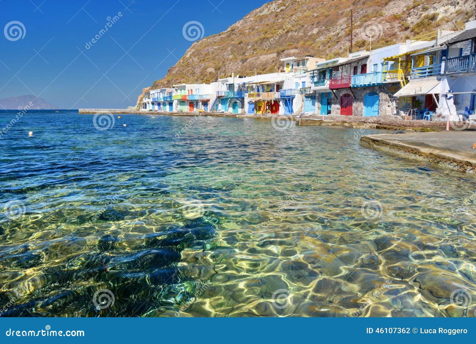 Traditioneel visserijdorp Klima, Milos De eilanden van Cycladen Griekenland