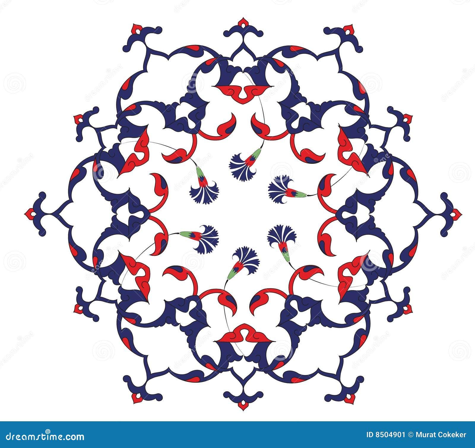 Traditionele antieke ottoman turkse tegel illustrat stock afbeelding afbeelding 8504901 - Pouf eigentijds ontwerp ...