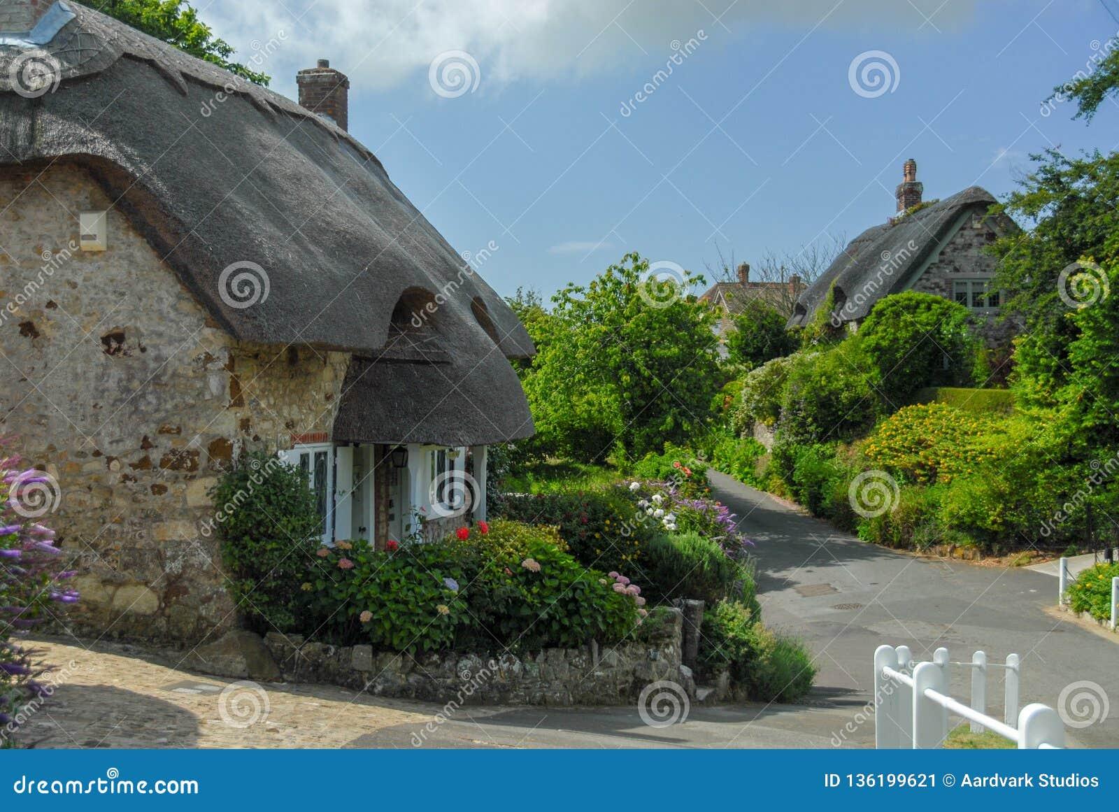 Traditionele Engelse vilagehuizen met met stro bedekt dak