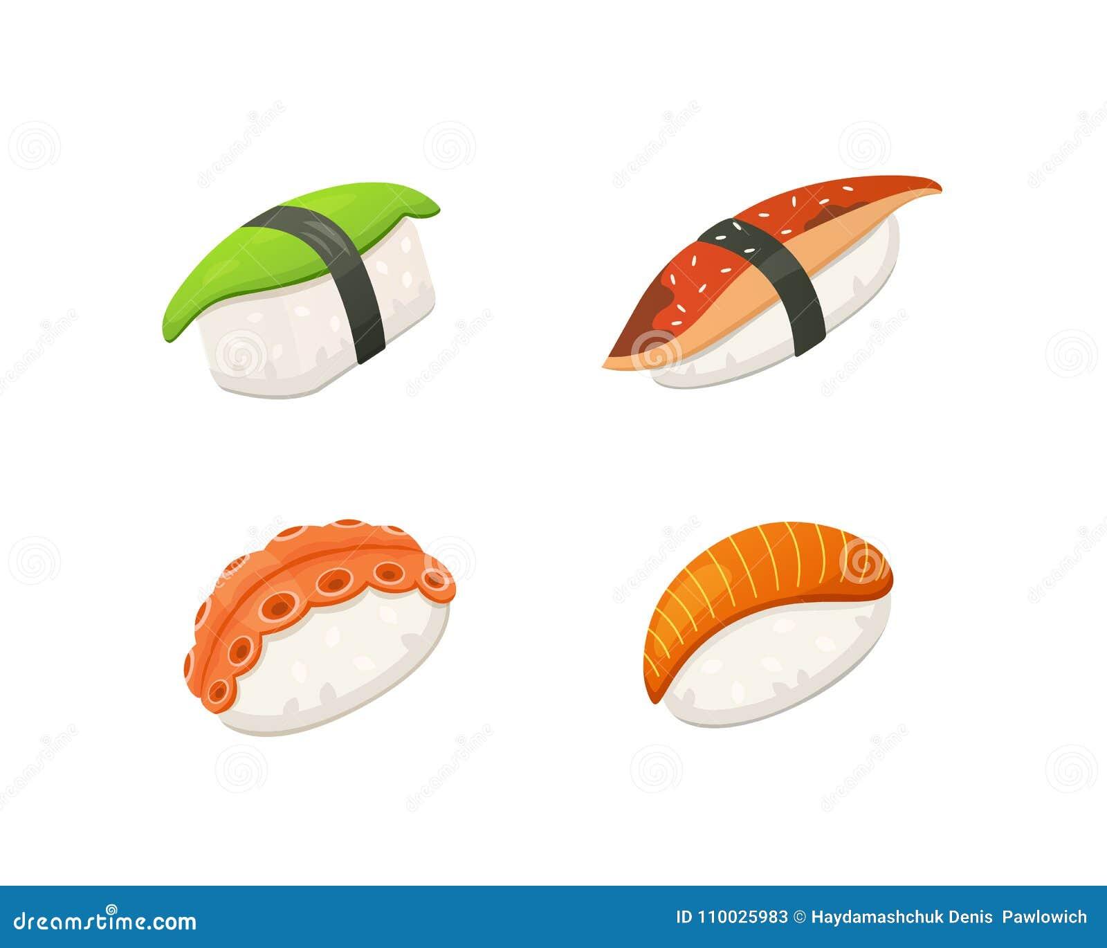 Traditionele Japanse sushi en broodjes Aziatische zeevruchten, restaurant heerlijke vectorillustratie