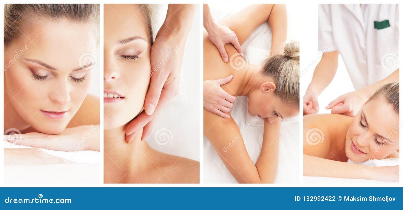 Traditionele massage en gezondheidszorgbehandeling in kuuroord Jonge, mooie en gezonde meisjes die recreatietherapie hebben