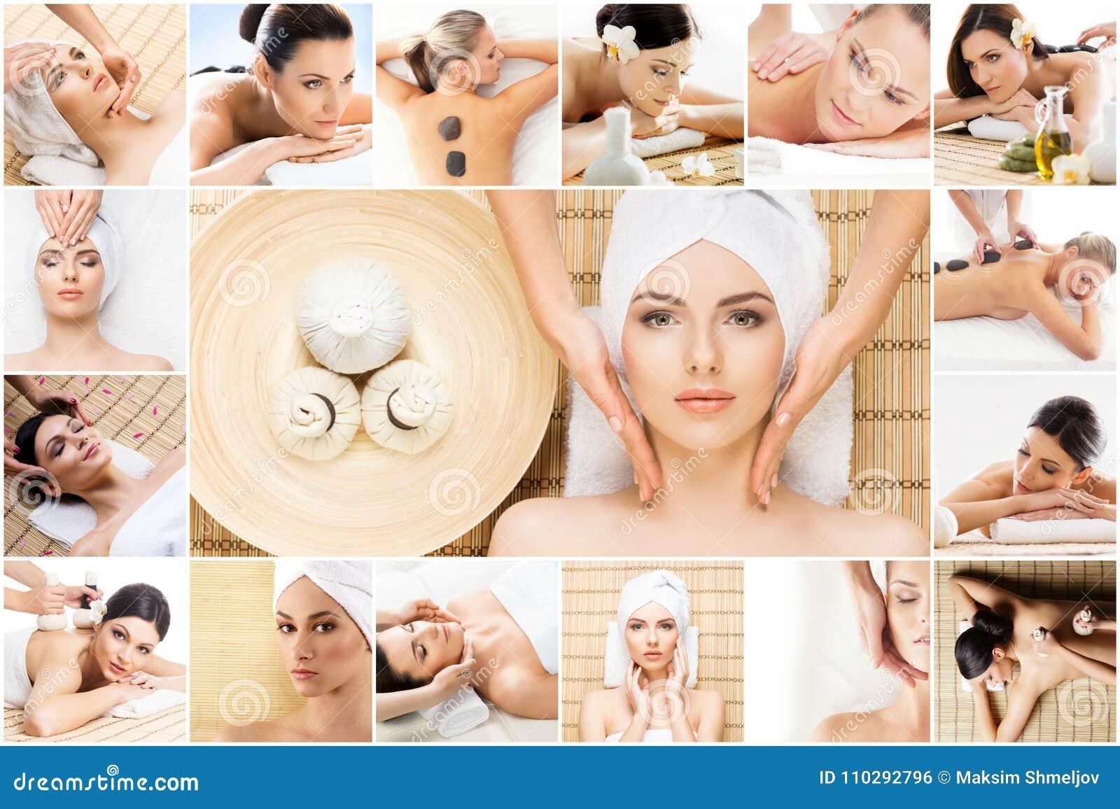 Traditionele massage en gezondheidszorgbehandeling in kuuroord Jonge, mooie en gezonde meisjes die therapie hebben collage