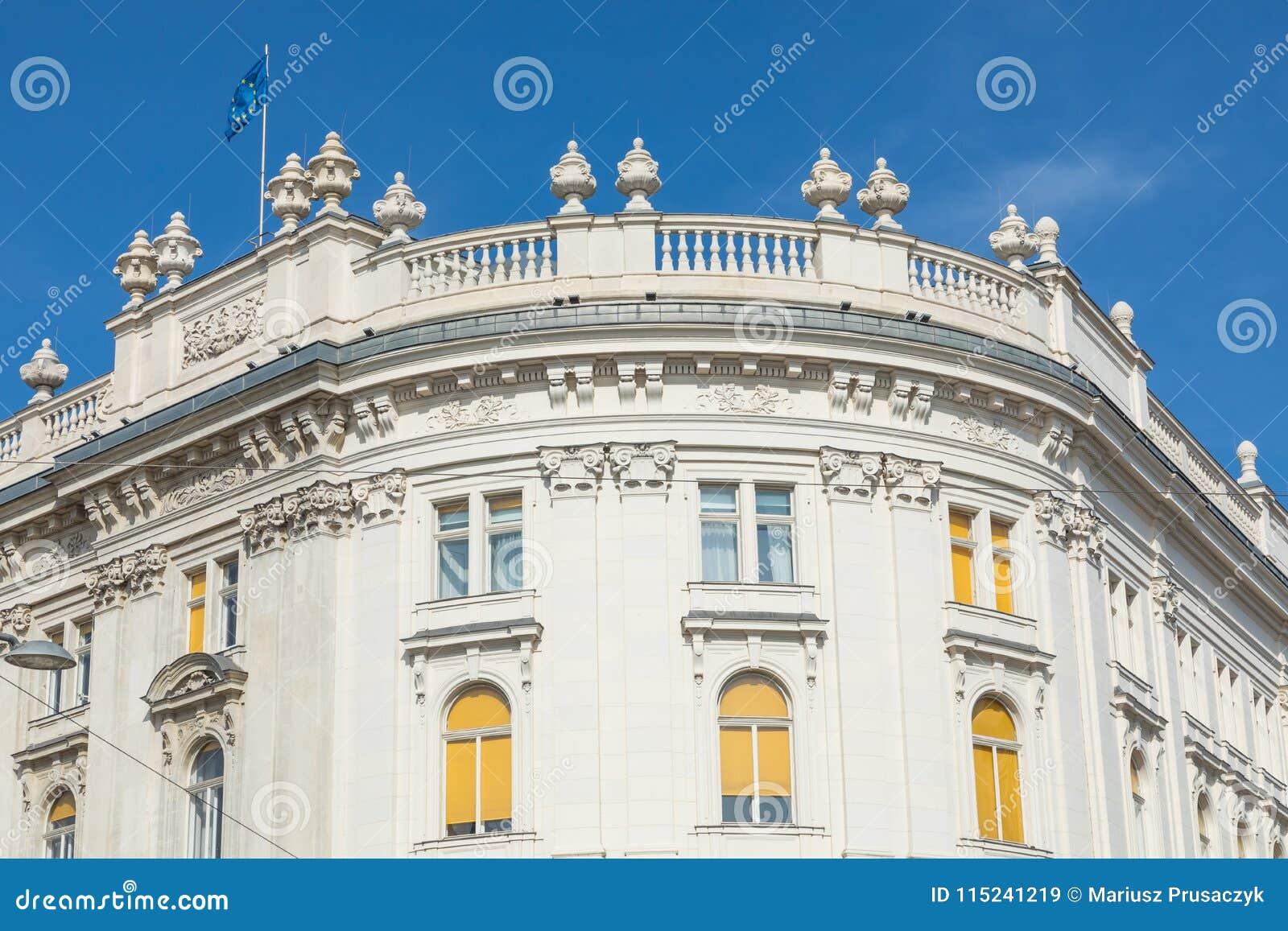 Traditionell arkitektur i gammal stad i Wien, Österrike