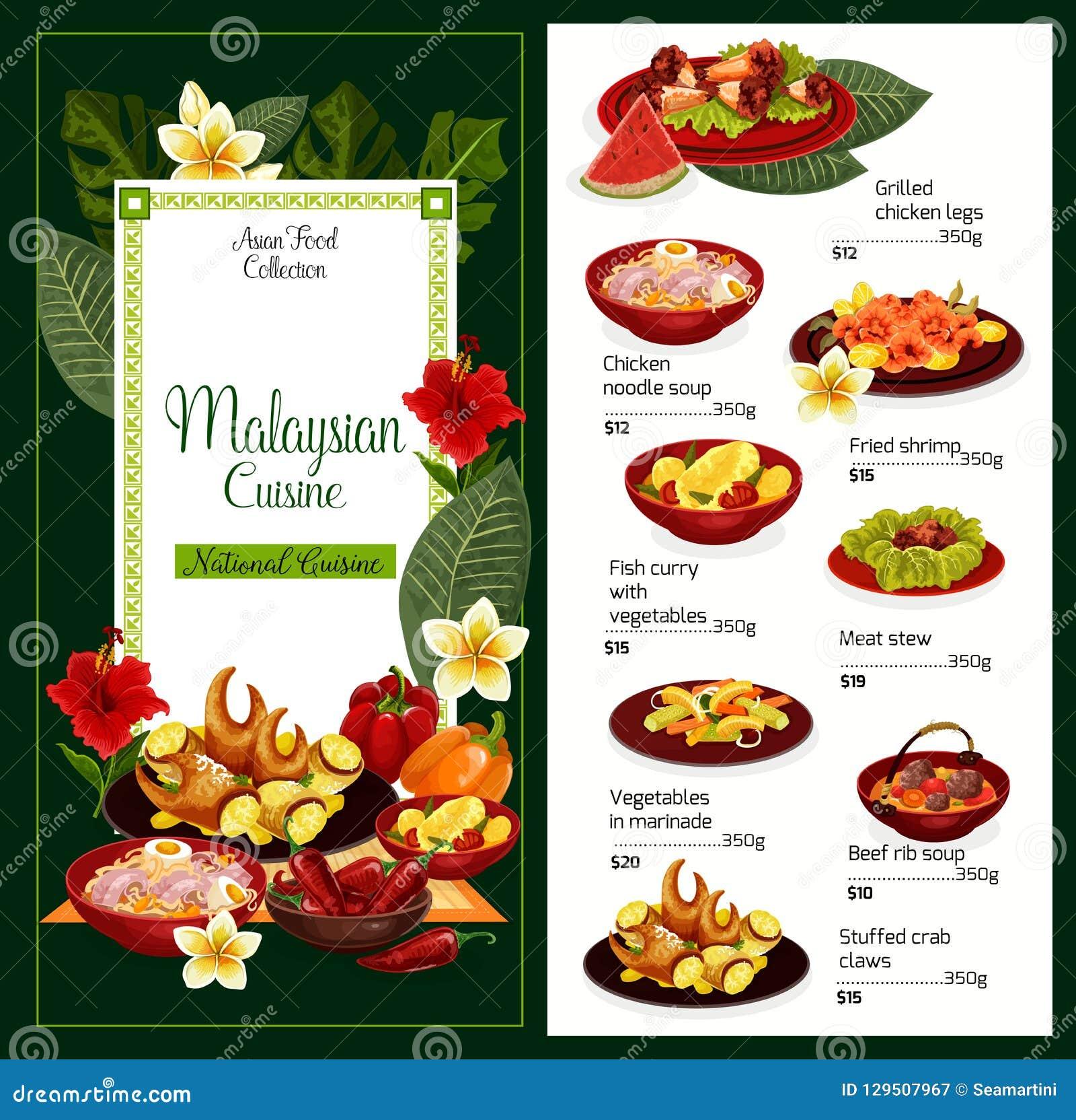 Traditionell disk för malaysisk kokkonst, vektormeny