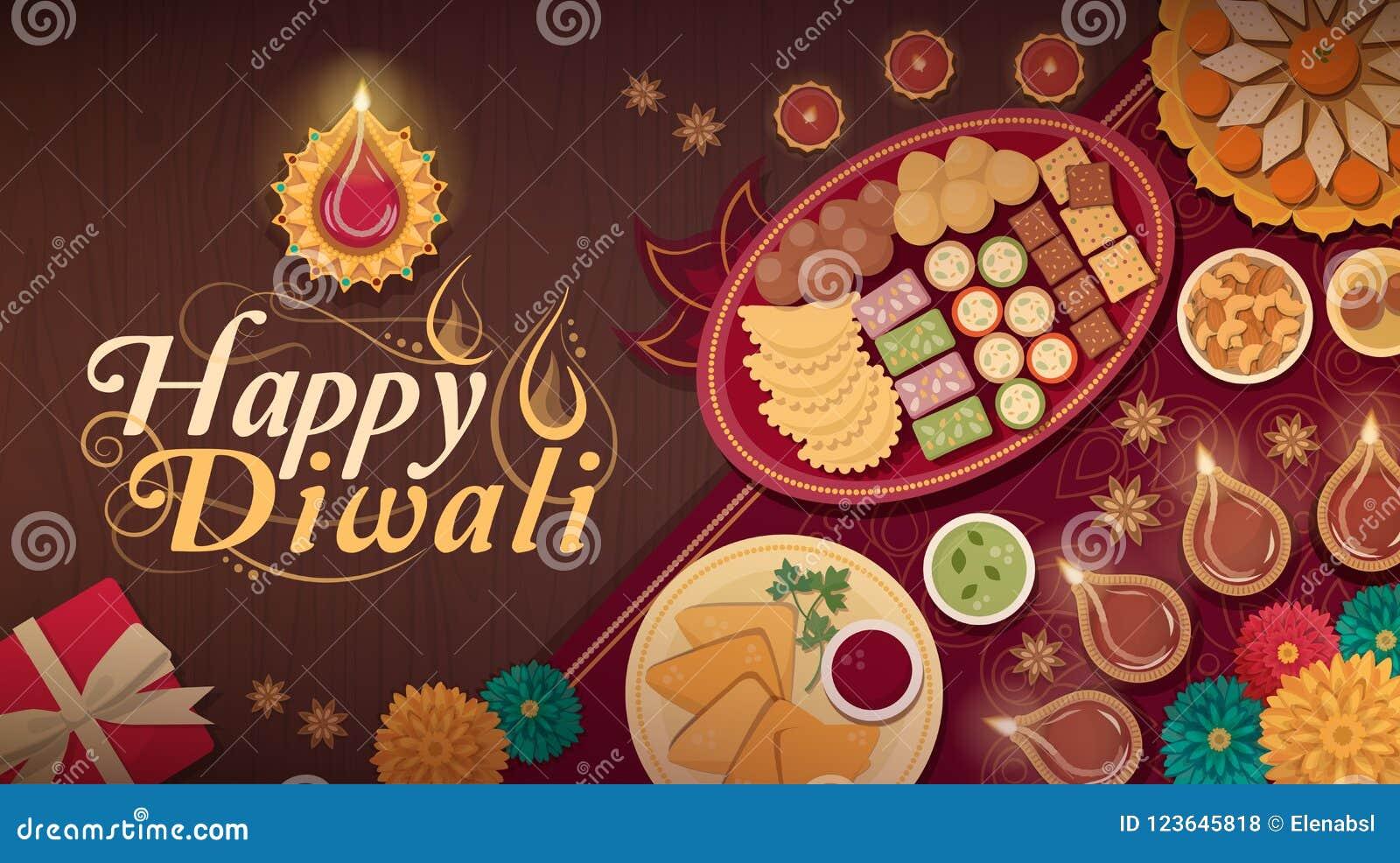 Traditionell Diwali beröm hemma med mat och lampor
