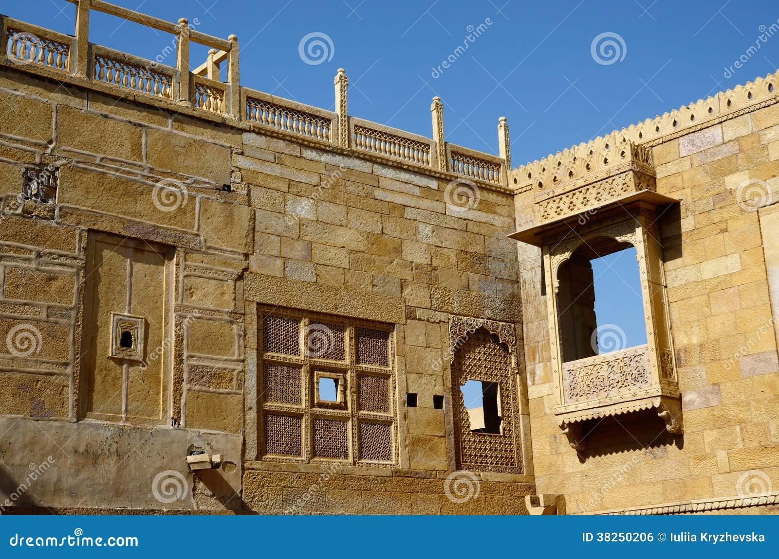 Traditionell hinduisk arkitektur av det Jaisalmer fortet, Indien