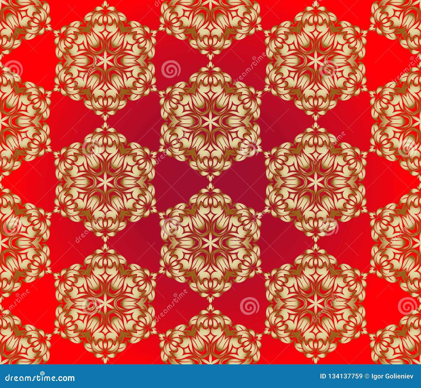 Traditionell indisk stil, dekorativa blom- beståndsdelar Vektorillustration av den sömlösa modellen för guld- mehndi