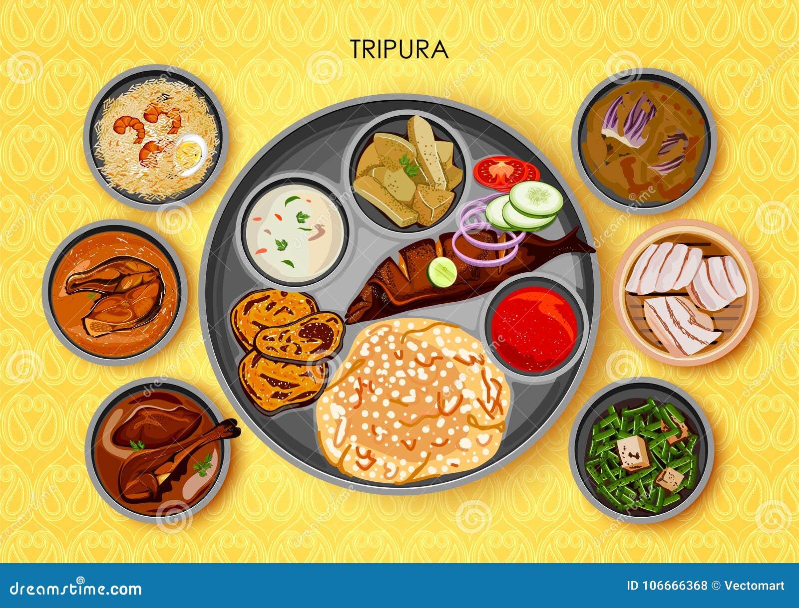 Traditionell kokkonst- och matmålthali av Tripura Indien