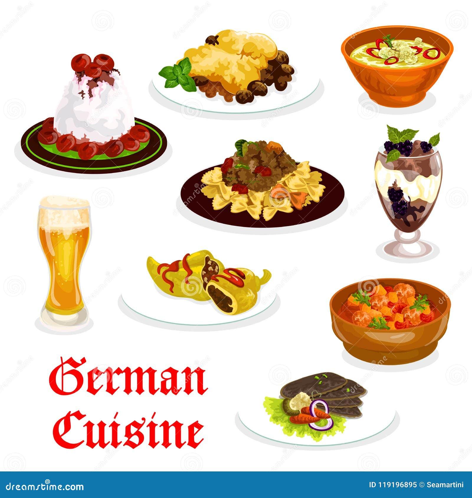 Traditionell mat för tysk kokkonst för lunchsymbol