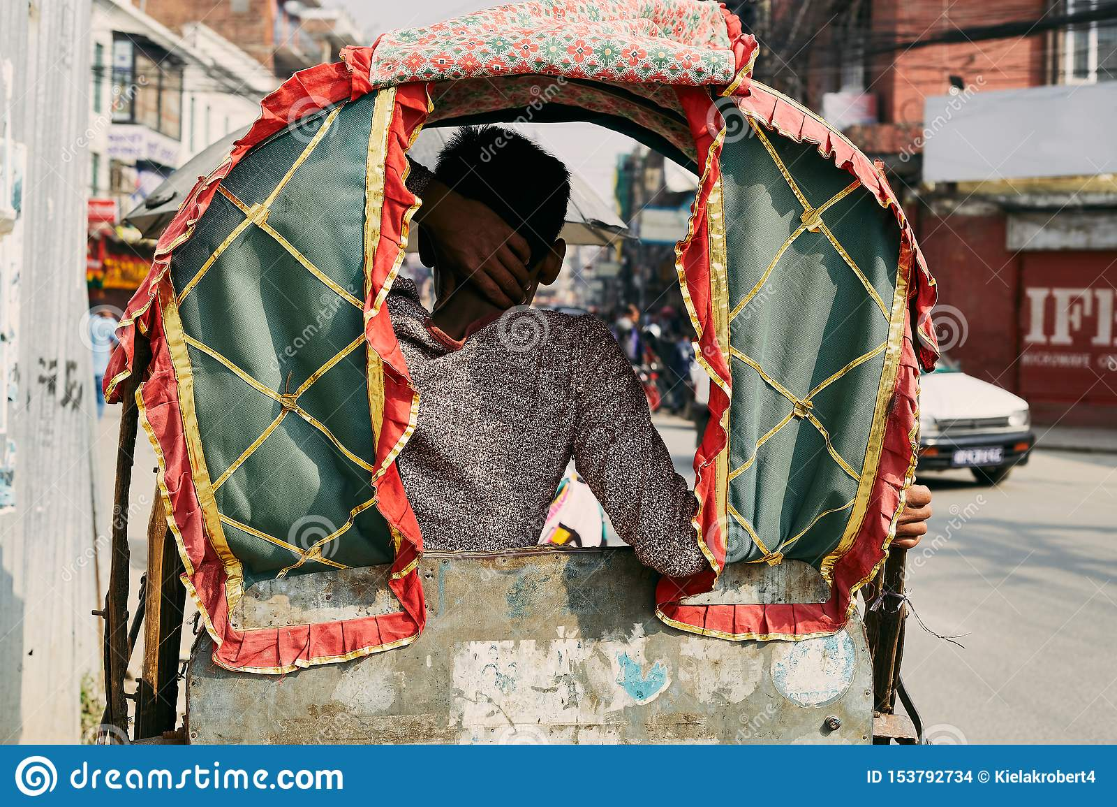 Traditionell nepalese rickshaw