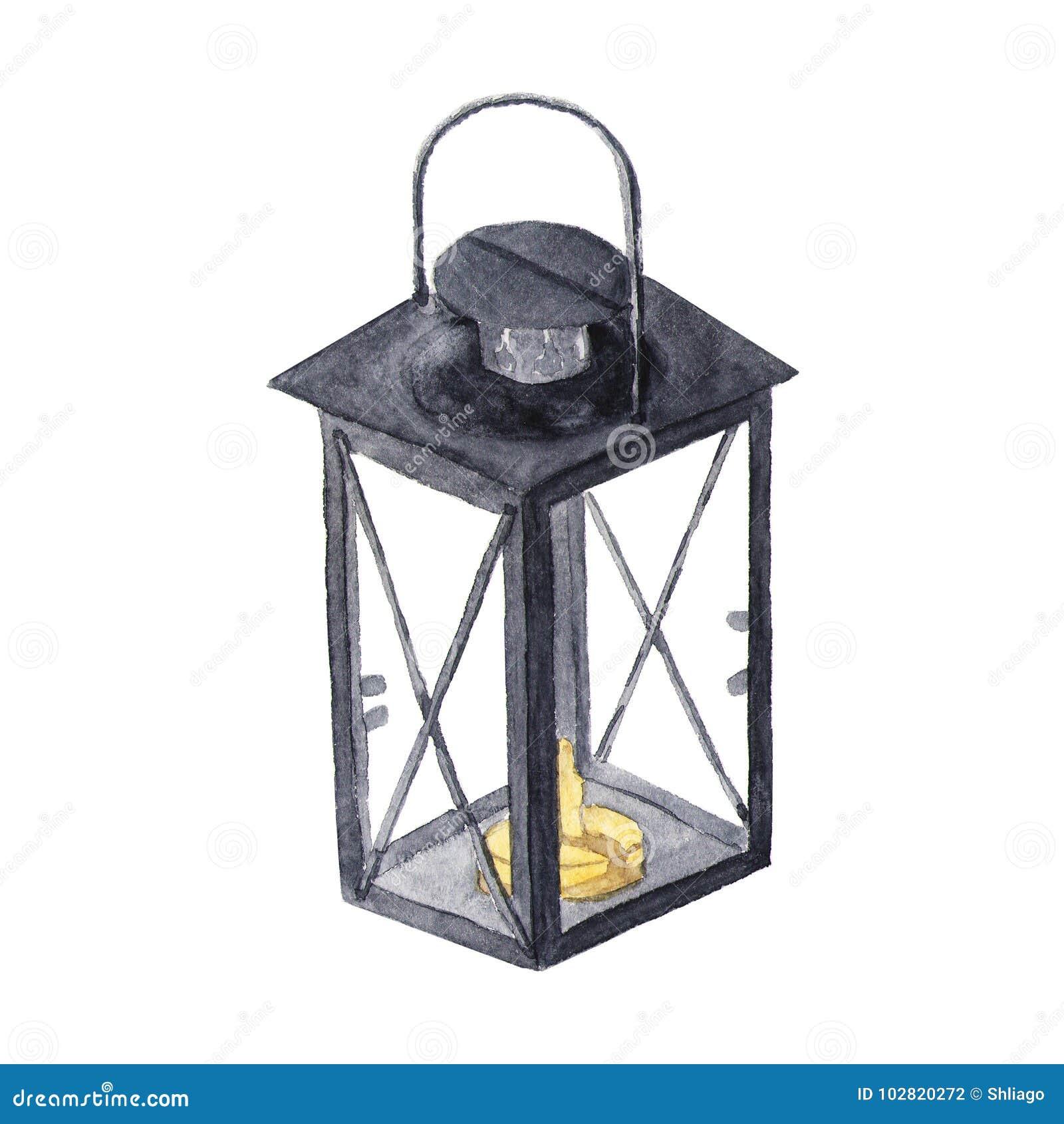 Traditionell svart lykta för vattenfärg med stearinljuset