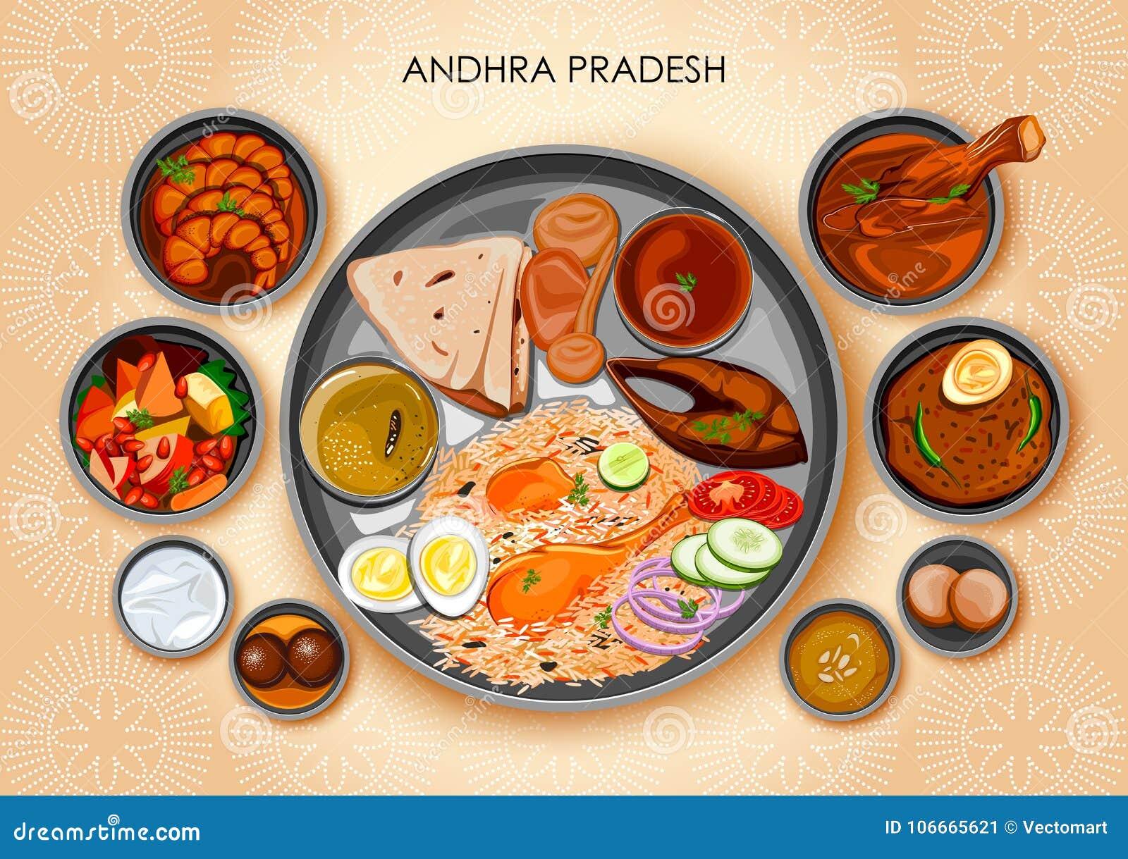 Traditionell thali för Andhrait kokkonst- och matmål av Andhra