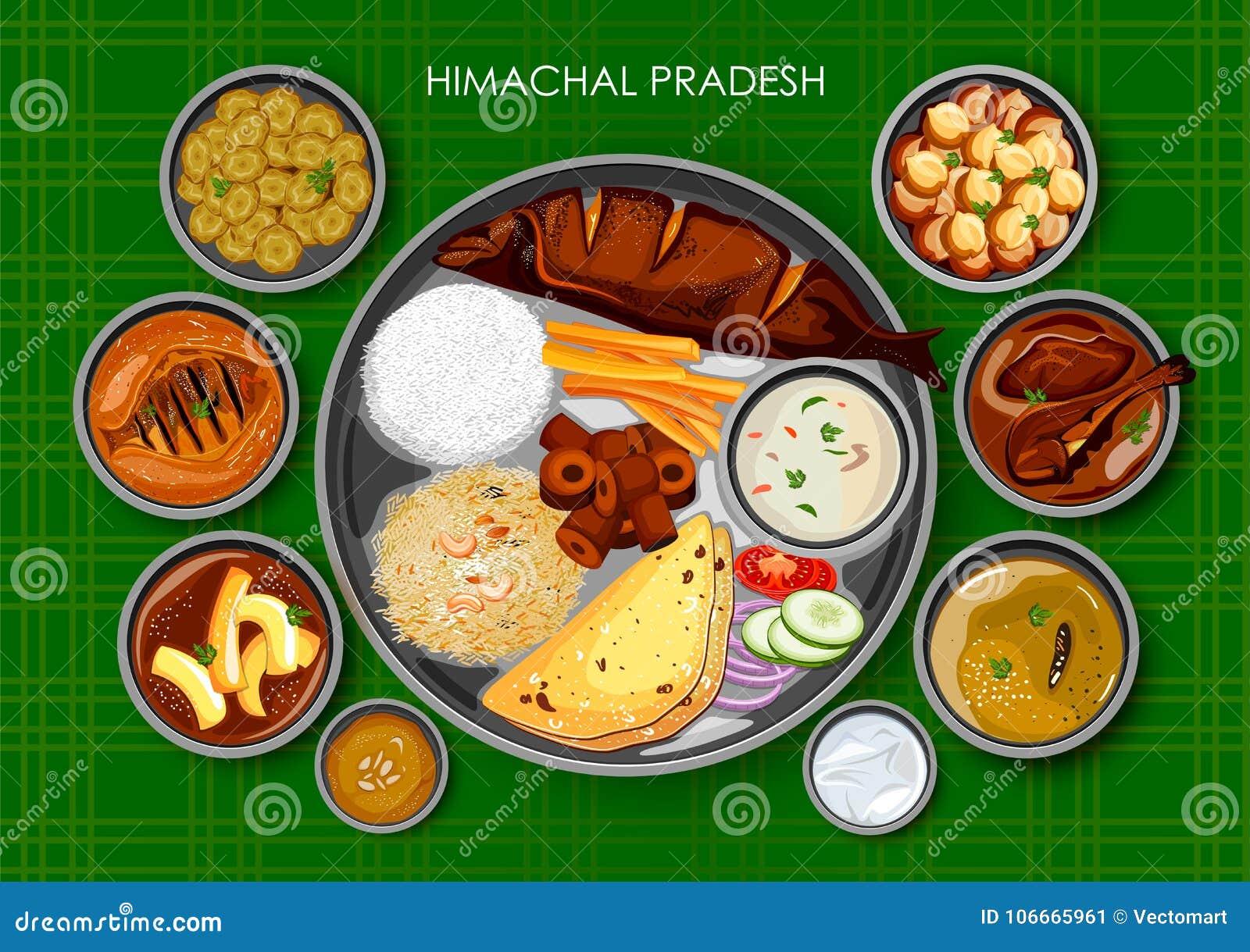 Traditionell thali för Himachali kokkonst- och matmål