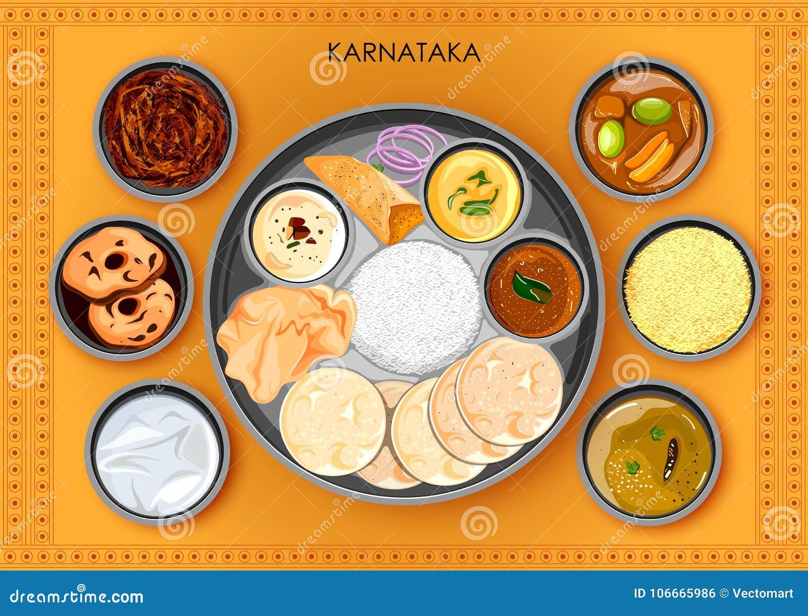 Traditionell thali för Karnatakan kokkonst- och matmål