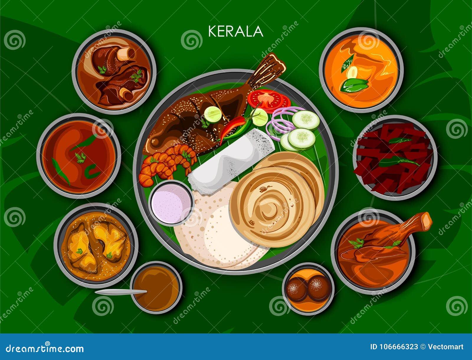 Traditionell thali för Keralite kokkonst- och matmål av Kerala