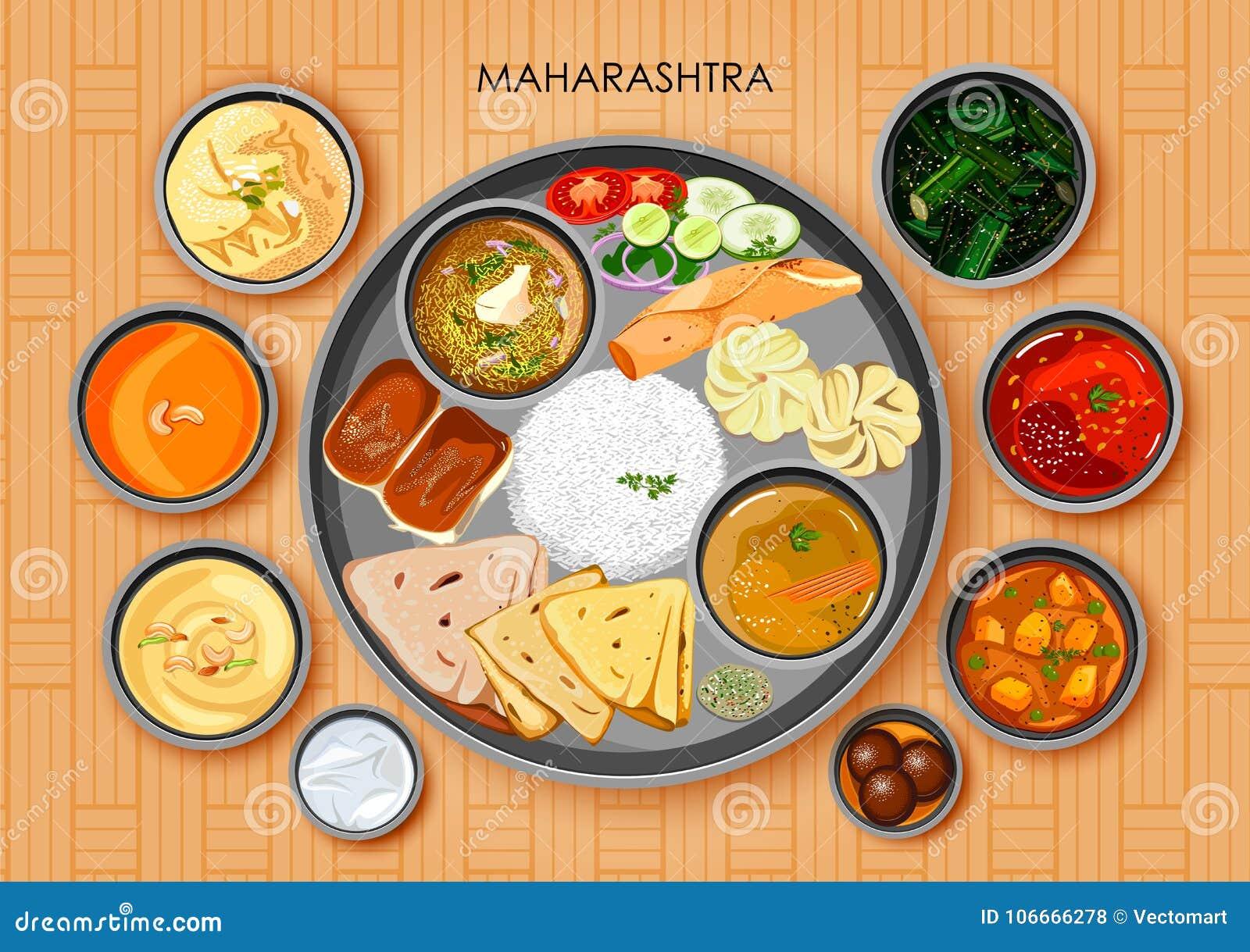 Traditionell thali för Maharashtrian kokkonst- och matmål
