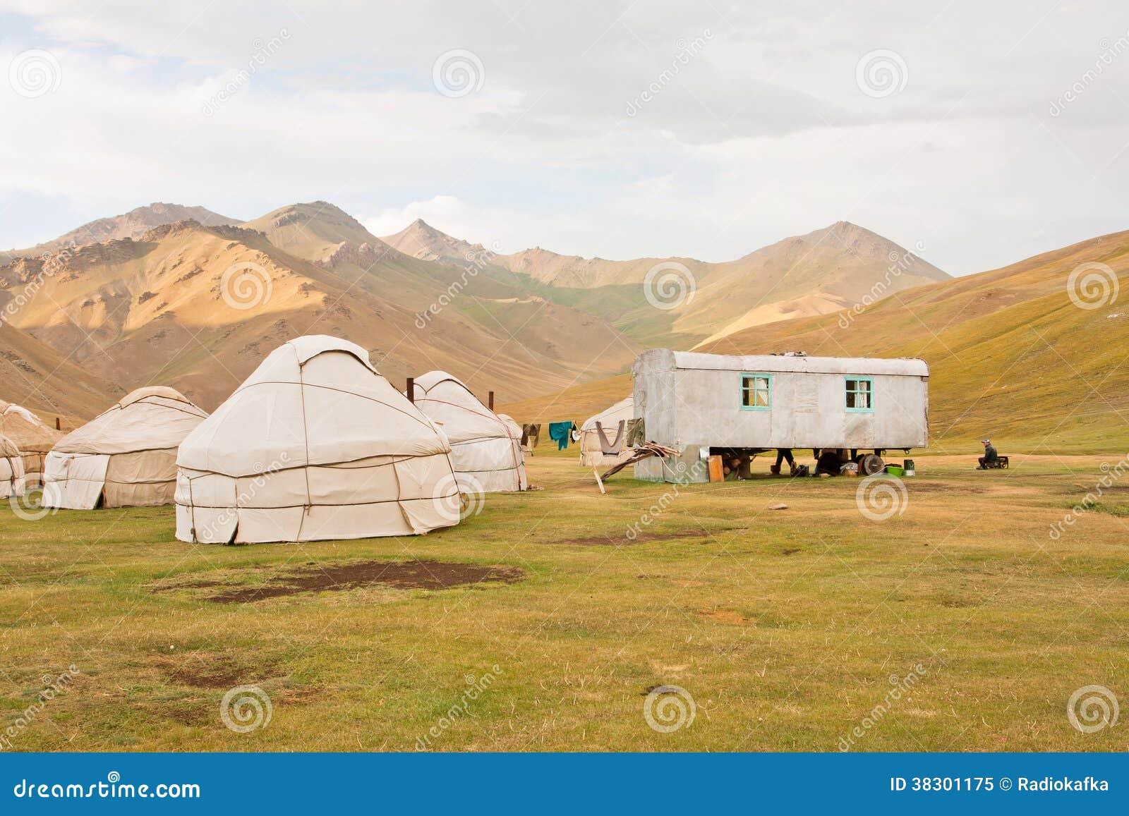 Yurt., tält, traditionell, nomader.