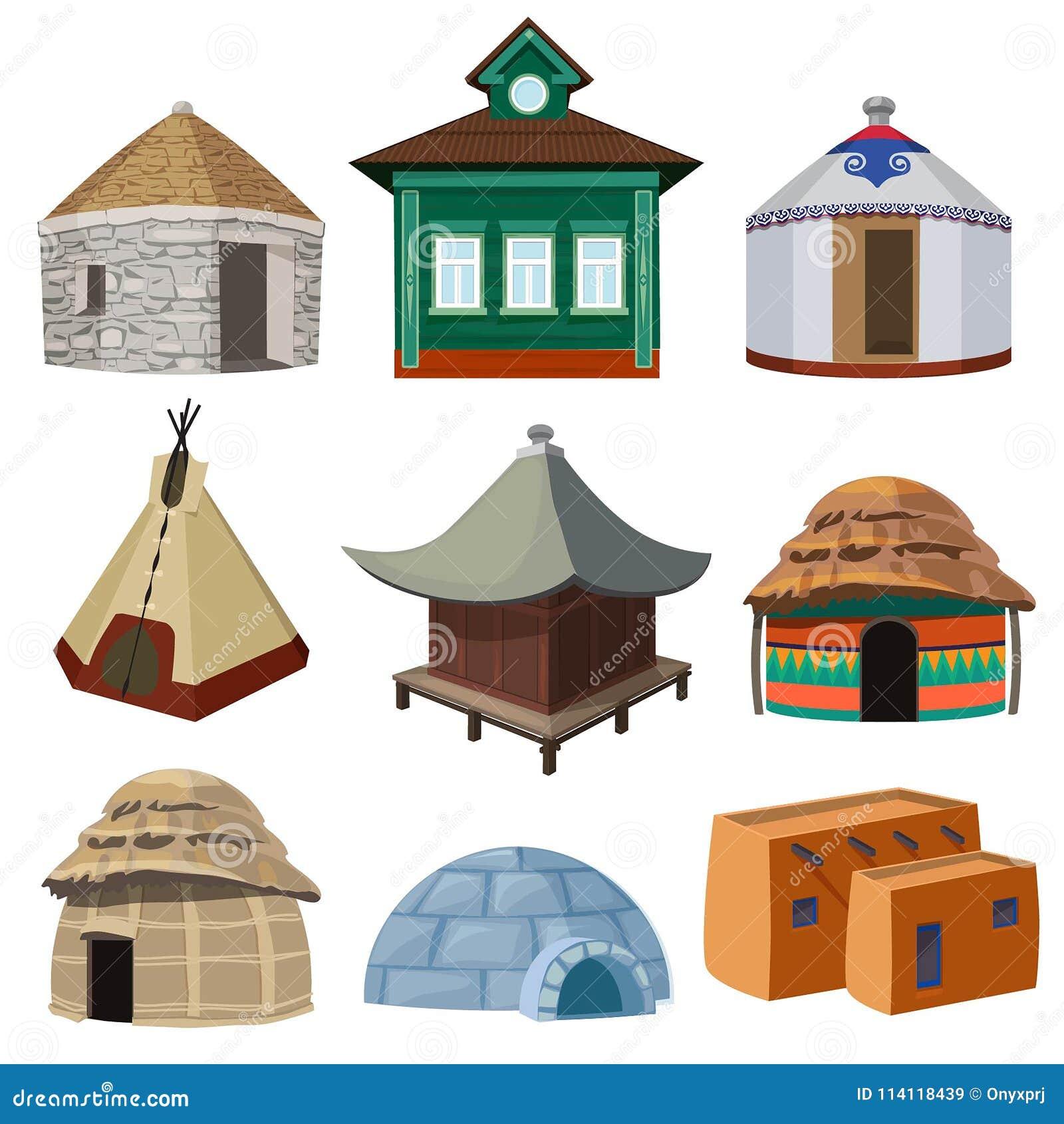 Traditionella byggnader och små hus av olika nationer för värld