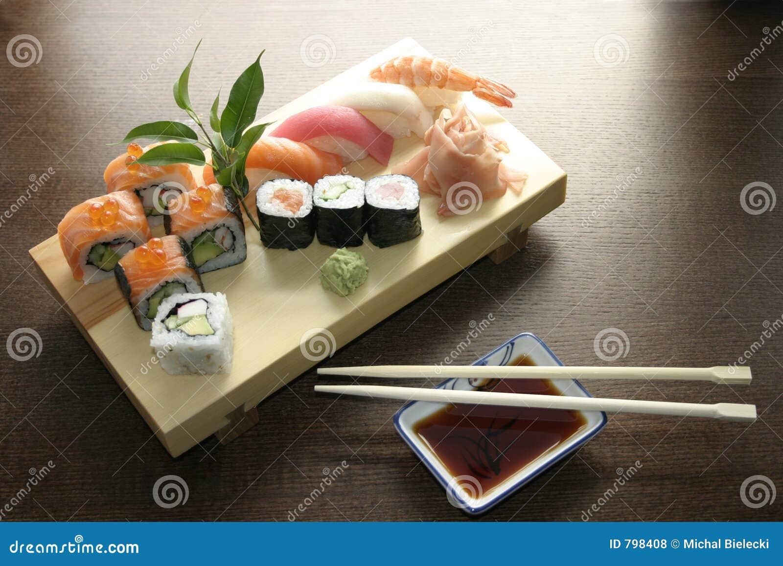 Traditionella japanska sushi för mat