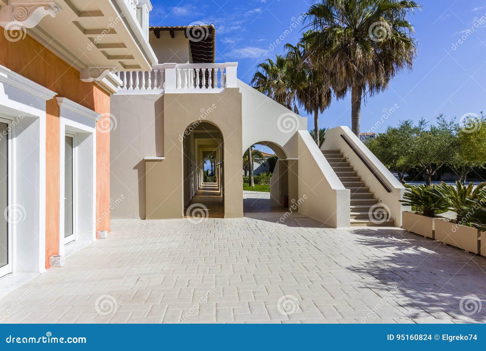 Fesselnde Hausfassade Modern Das Beste Von Pattern Traditionelle Griechische Fassade, Griechenland Stockfoto -