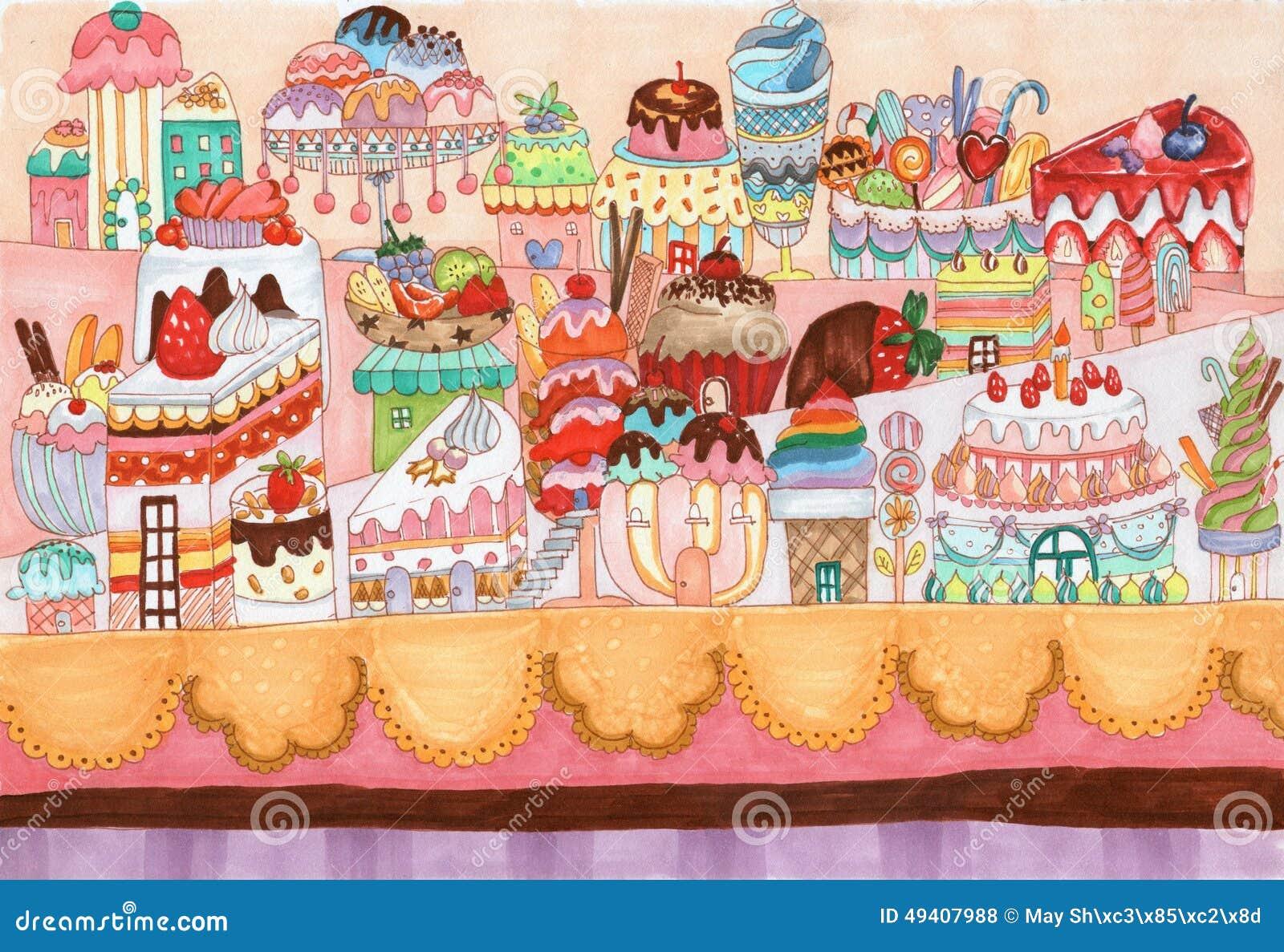 Download Traditionelle Illustration Der Nachtischstadt Stock Abbildung - Illustration von kunst, bunt: 49407988