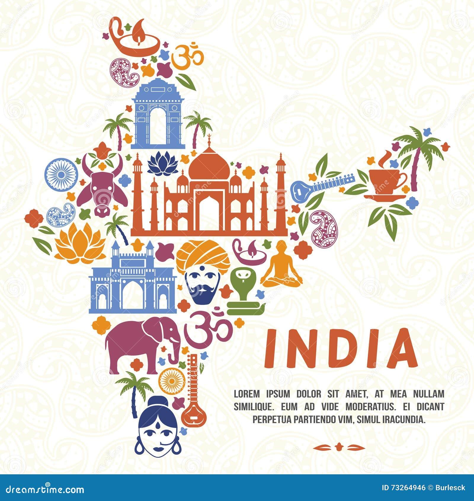 Traditionelle Indische Symbole In Form Von Indien Karte Vektor