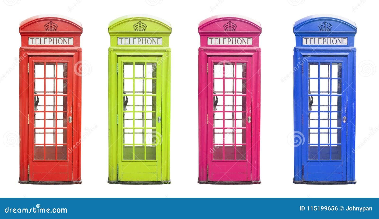 Traditionelle London-Telefonkabine in vielen Farben