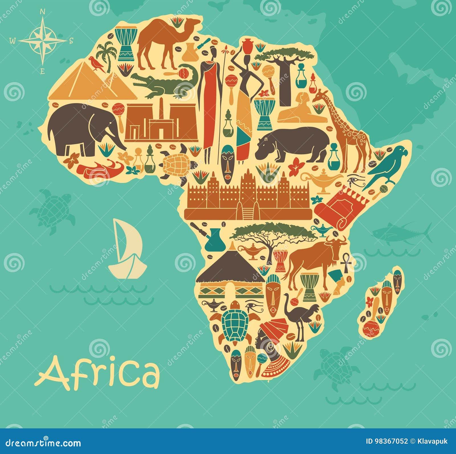 Traditionelle Symbole Von Afrika In Form Einer Stilized Karte Vektor ...
