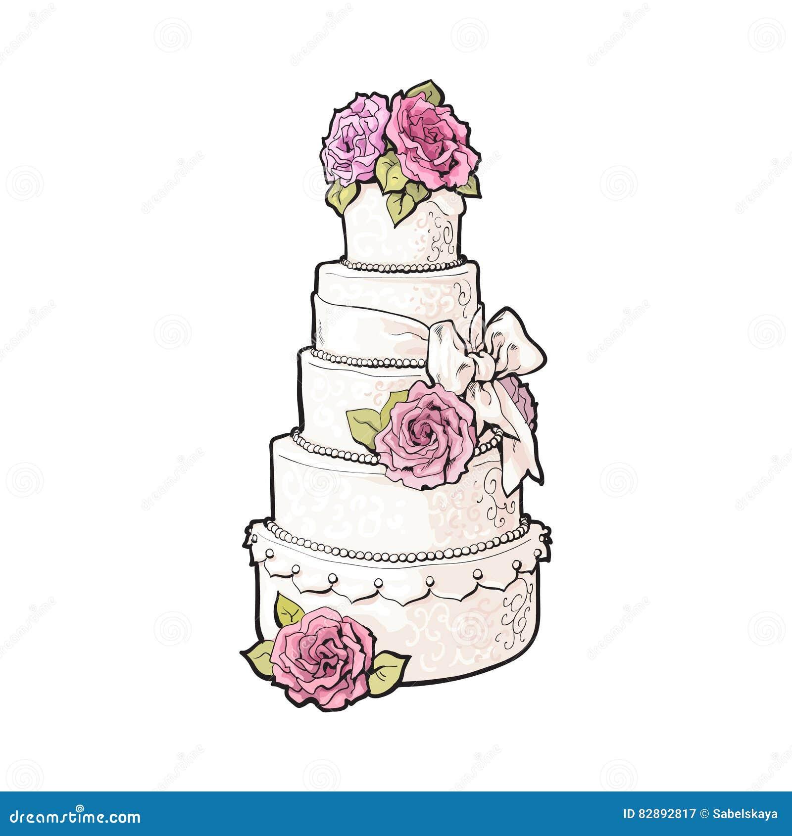 Traditionelle Weisse Abgestufte Hochzeitstorte Verziert Mit Rosa