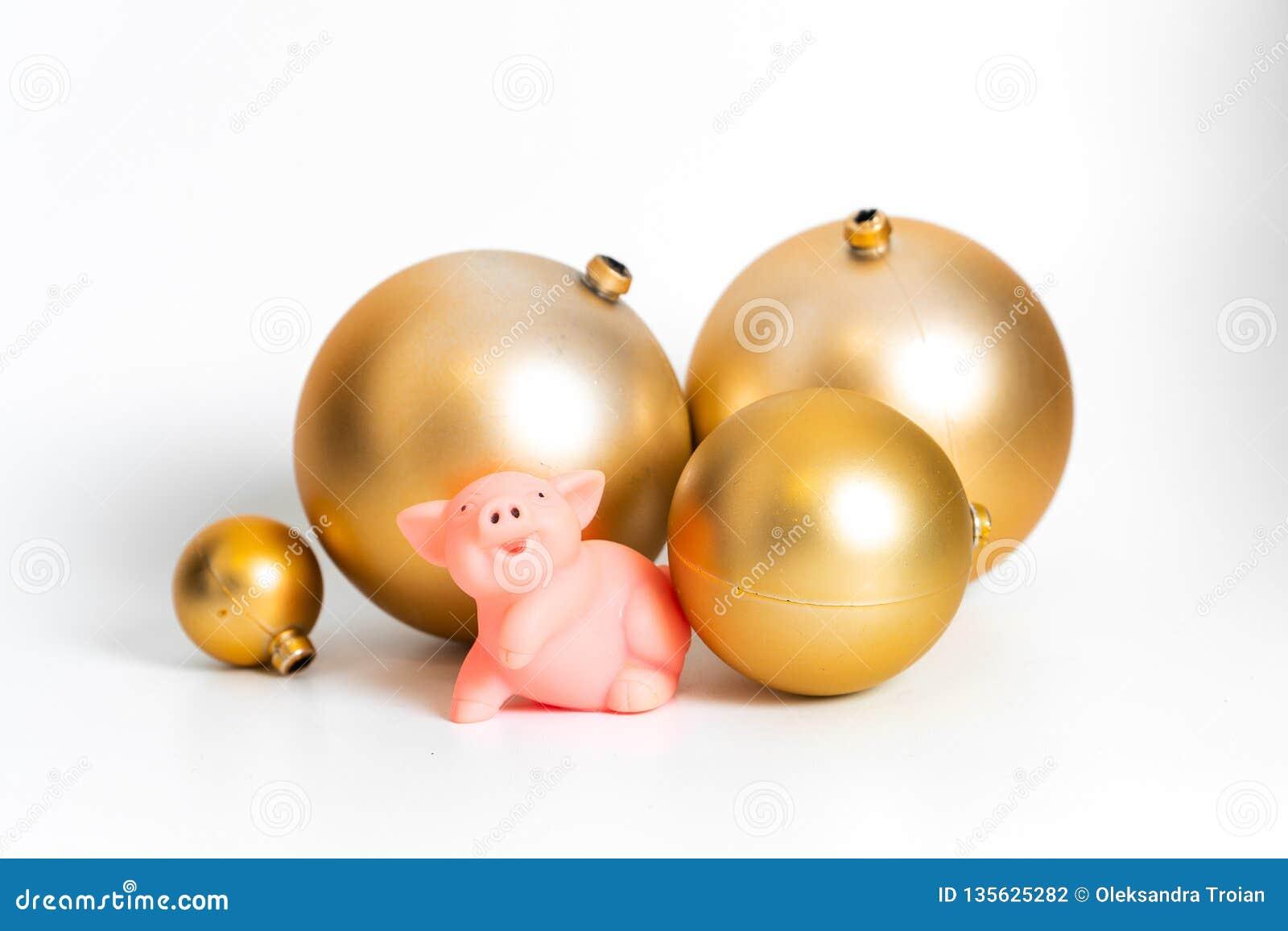 Traditioneller kultureller Tierkreiskalender des goldenen Symbols Ballschwein Chinesischen Neujahrsfests lokalisiert