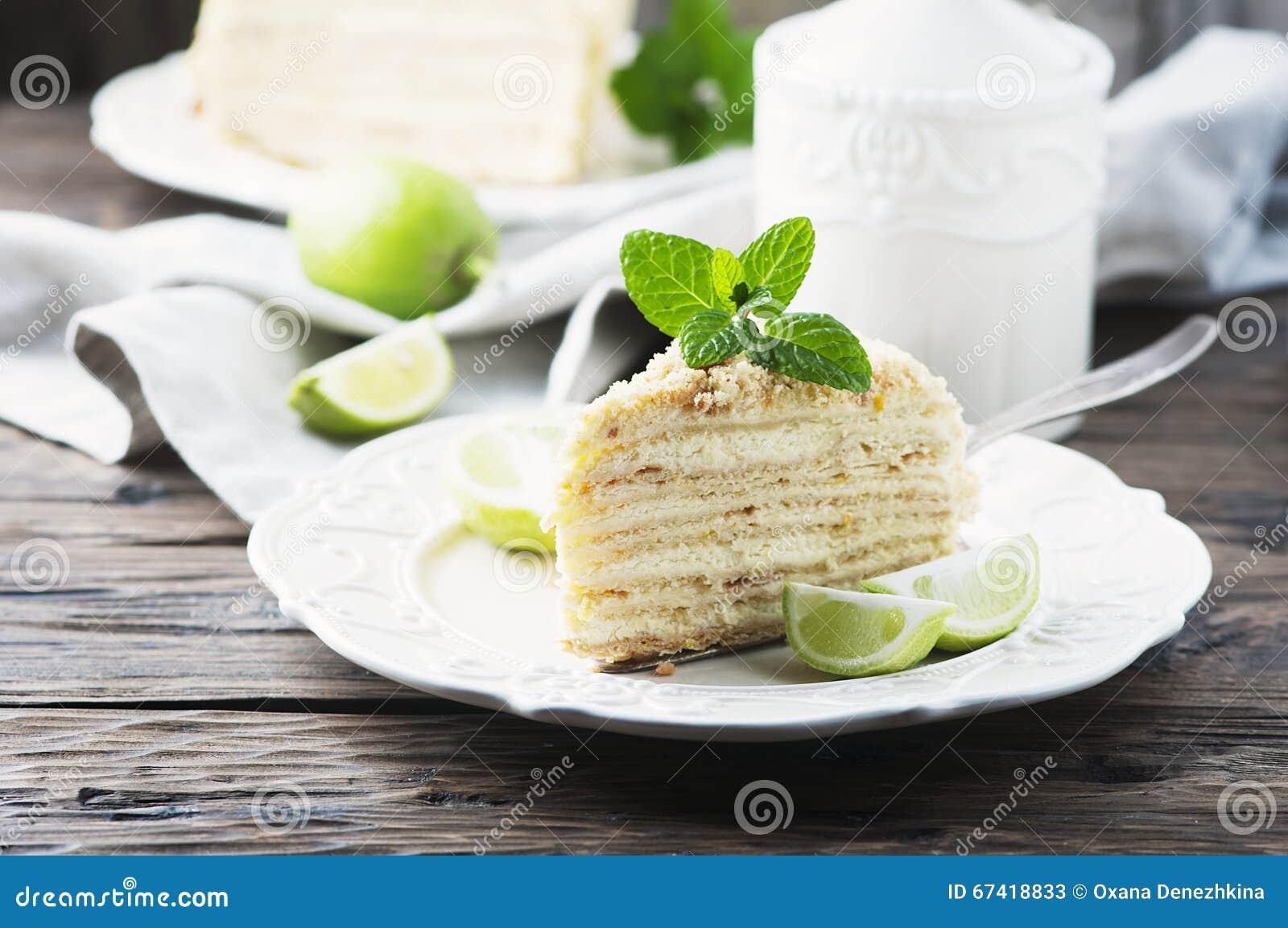 Traditioneller Russischer Kuchen Medovik Mit Honig Stockbild Bild