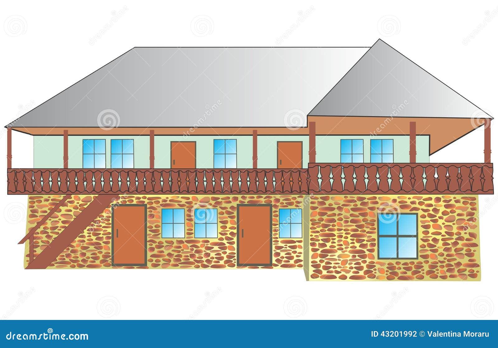 Download Traditionellt hus stock illustrationer. Illustration av bygger - 43201992