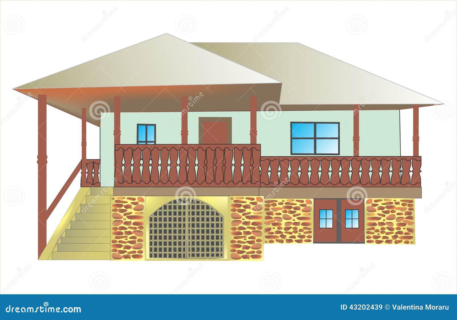 Download Traditionellt hus stock illustrationer. Illustration av ställe - 43202439