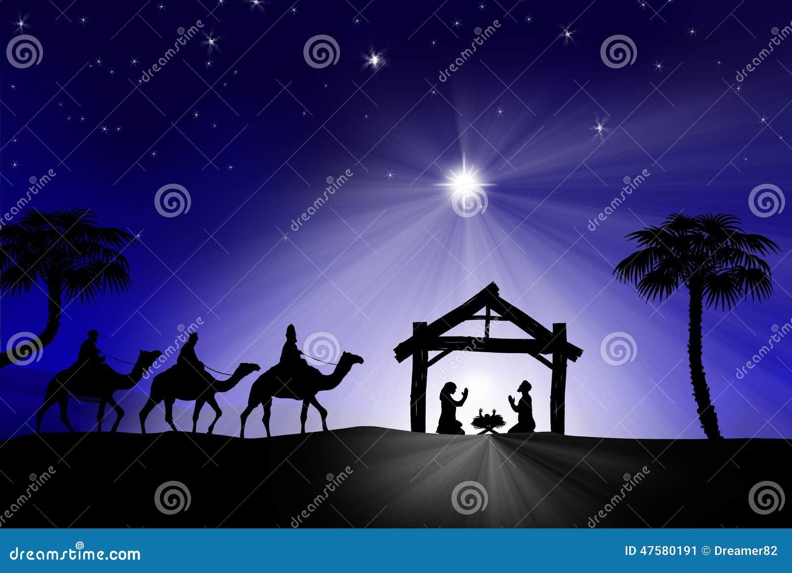 Tradycyjna Chrześcijańska Bożenarodzeniowa narodzenie jezusa scena z trzy wi