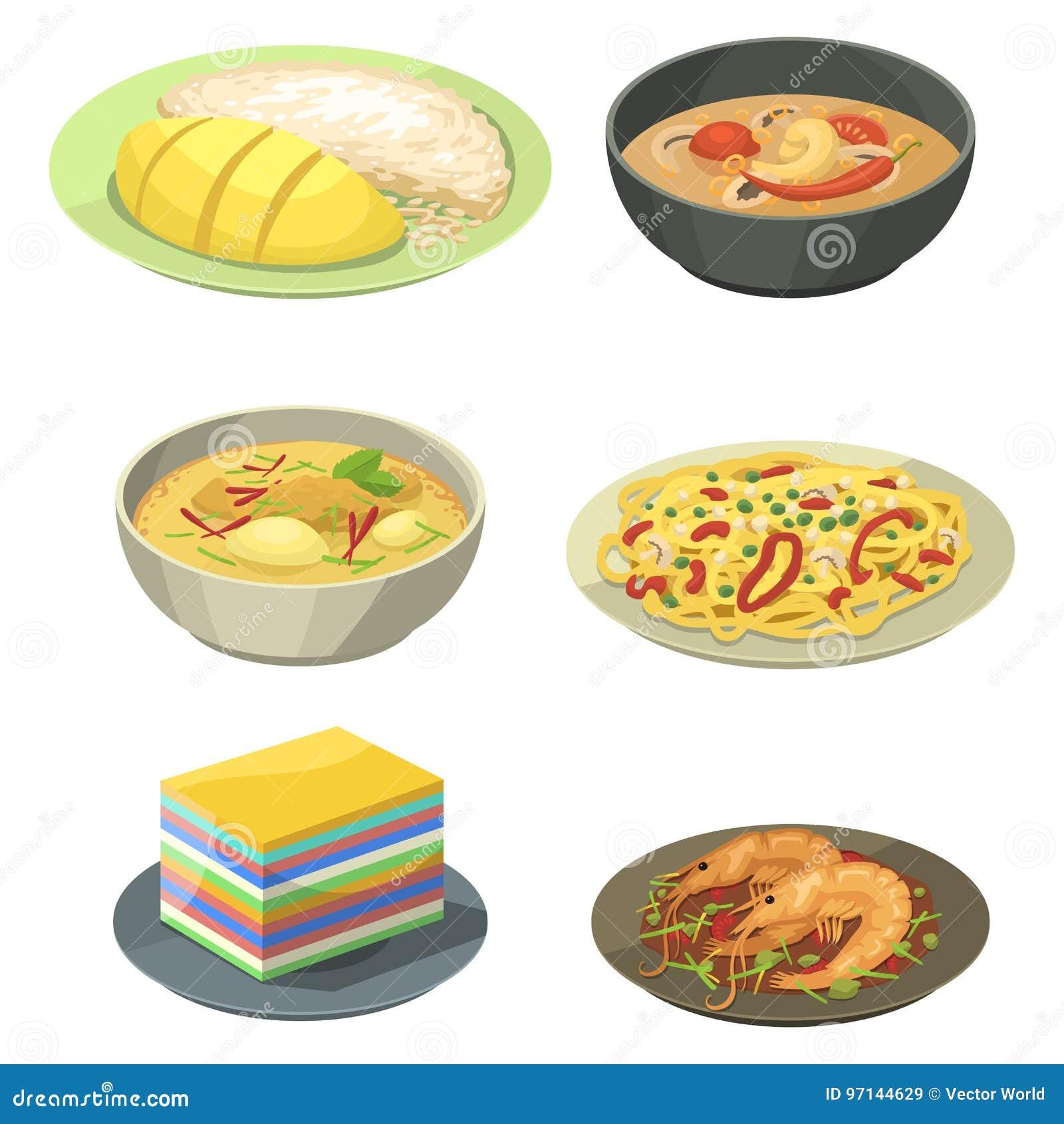 Tradycyjna Krajowa tajlandzka karmowa Thailand azjata talerza kuchni owoce morza krewetka gotuje wyśmienicie wektorową ilustrację