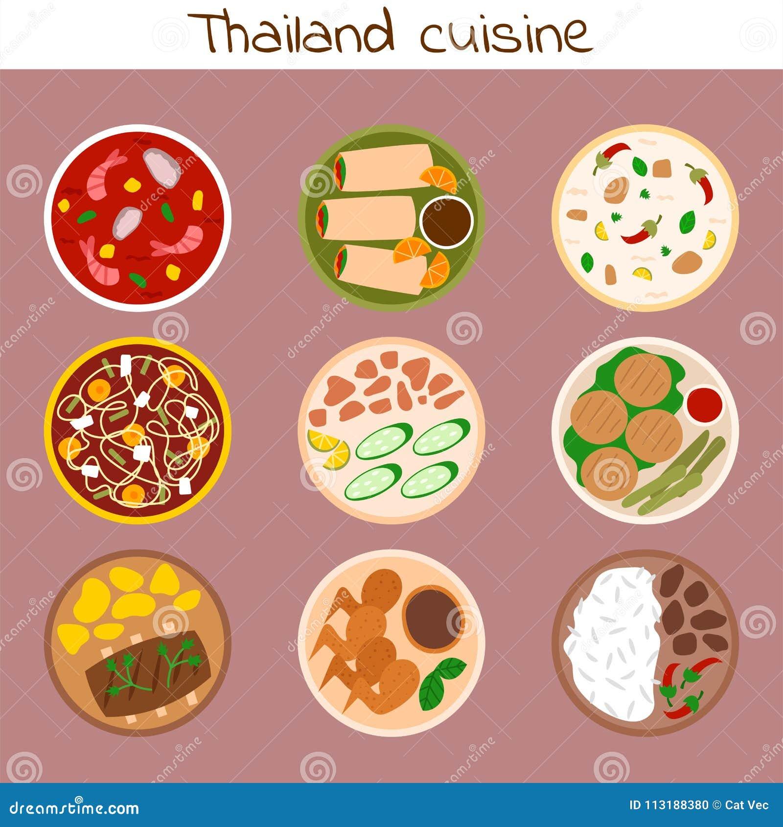 Tradycyjna tajlandzka karmowa azjata talerza kuchni Thailand owoce morza krewetka gotuje wyśmienicie wektorową ilustrację