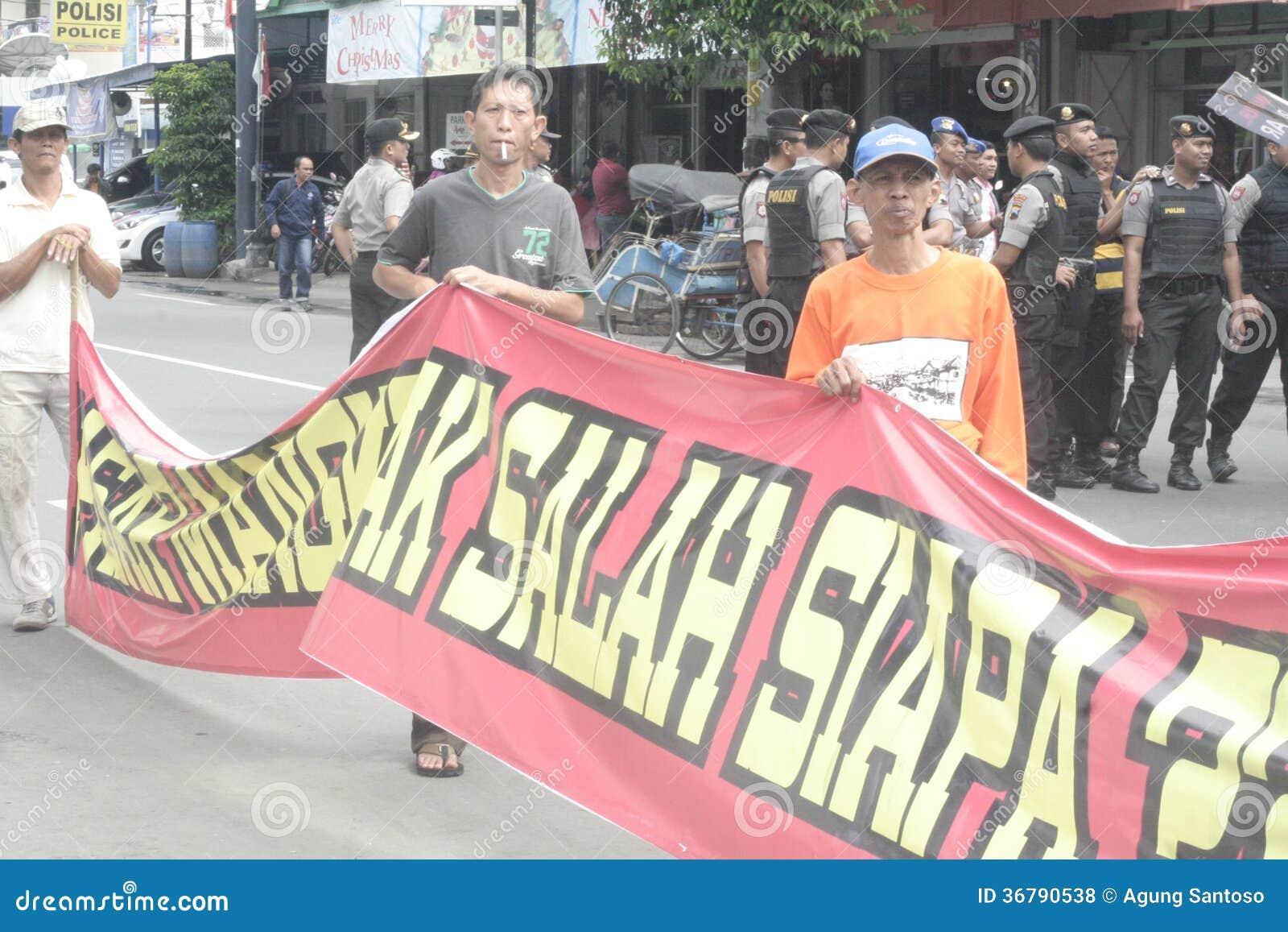 Tradycyjna Targowa handlowa Soekarno Sukoharjo demonstracja